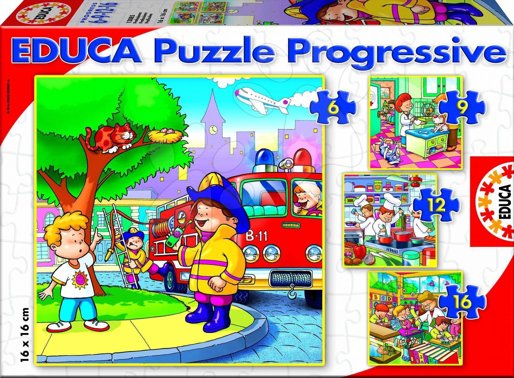 puzzle Progressive Profese Educa 16, 12, 9, 6 dílků