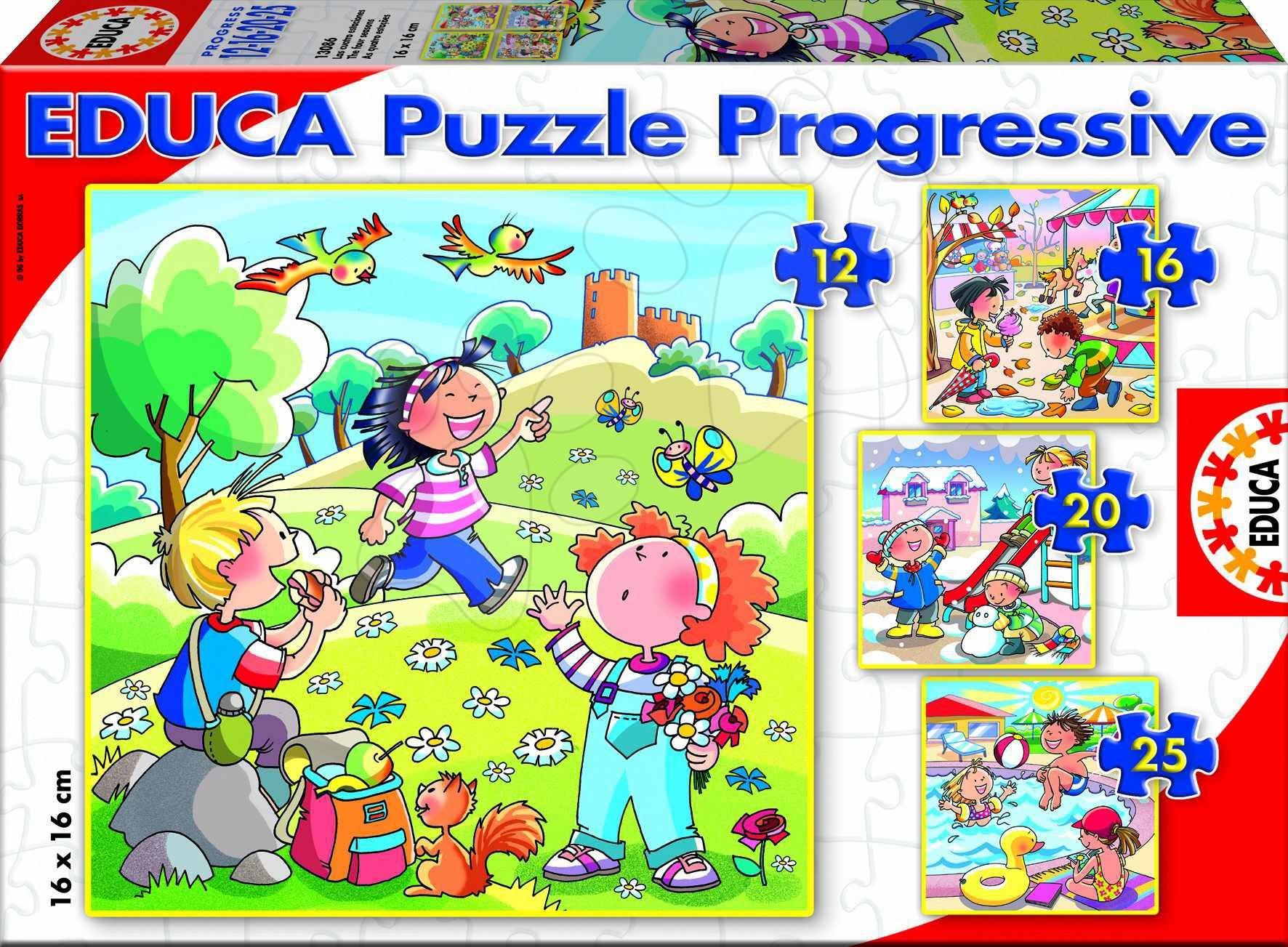 Puzzle P4 ročné obdobia Educa 25, 20, 16, 12ks, prograsívne