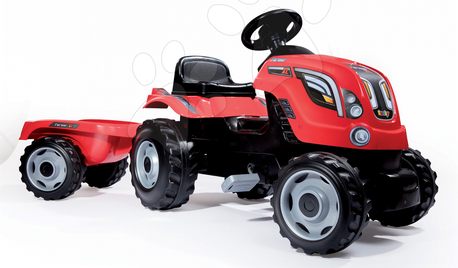 Vehicule cu pedală pentru copii - Tractor cu pedale RX Bull Smoby cu remorcă roşu