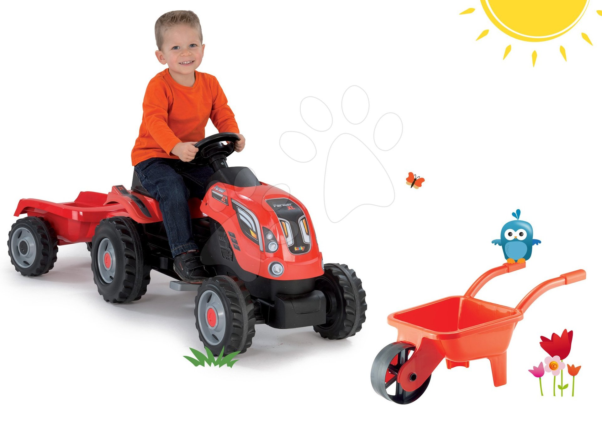 Detské šliapacie vozidlá sety - Set traktor na šliapanie Farmer XL Smoby s prívesom a fúrik