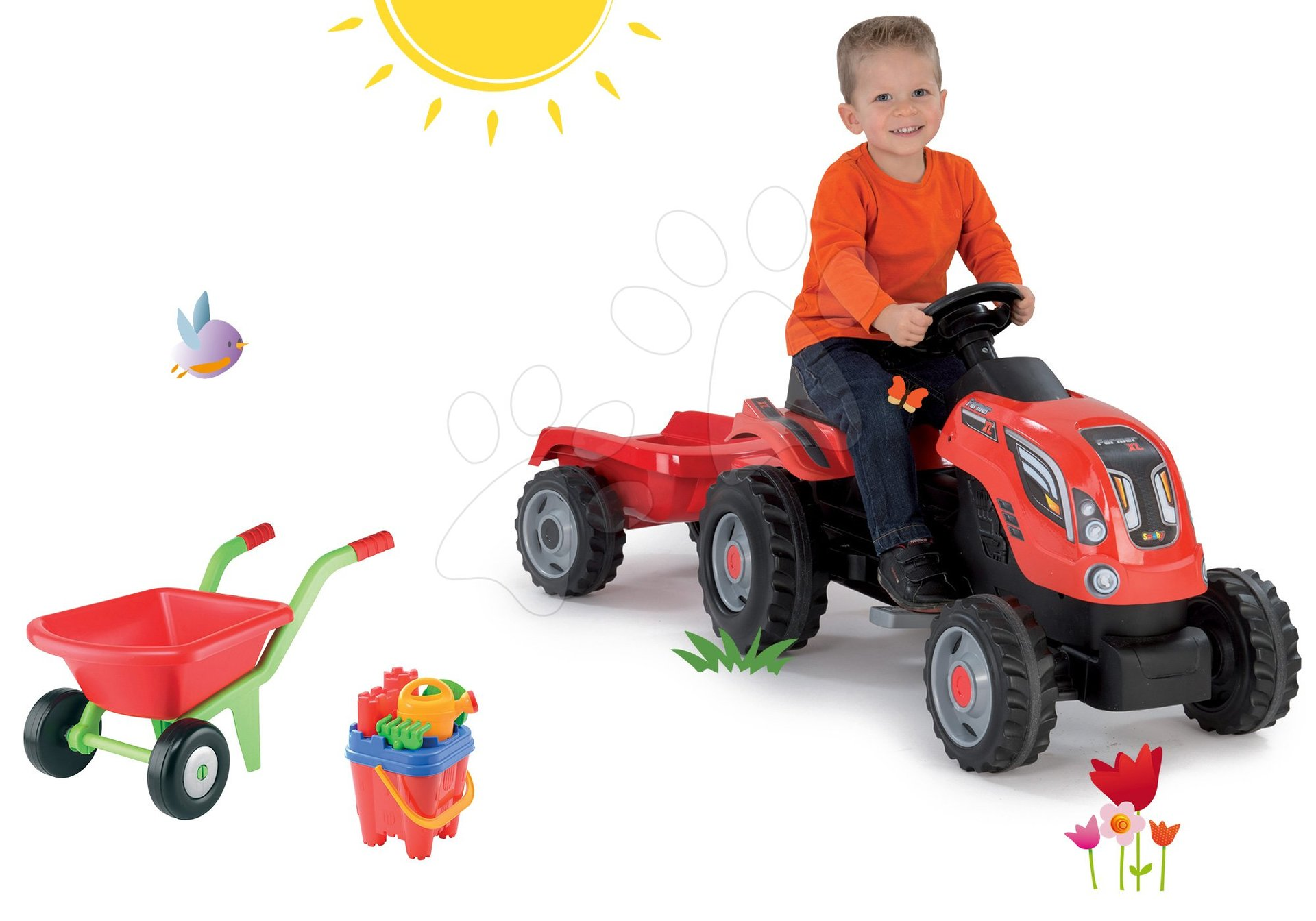 Set traktor na šliapanie Farmer XL Smoby s prívesom a fúrik s vedro setom Hrad