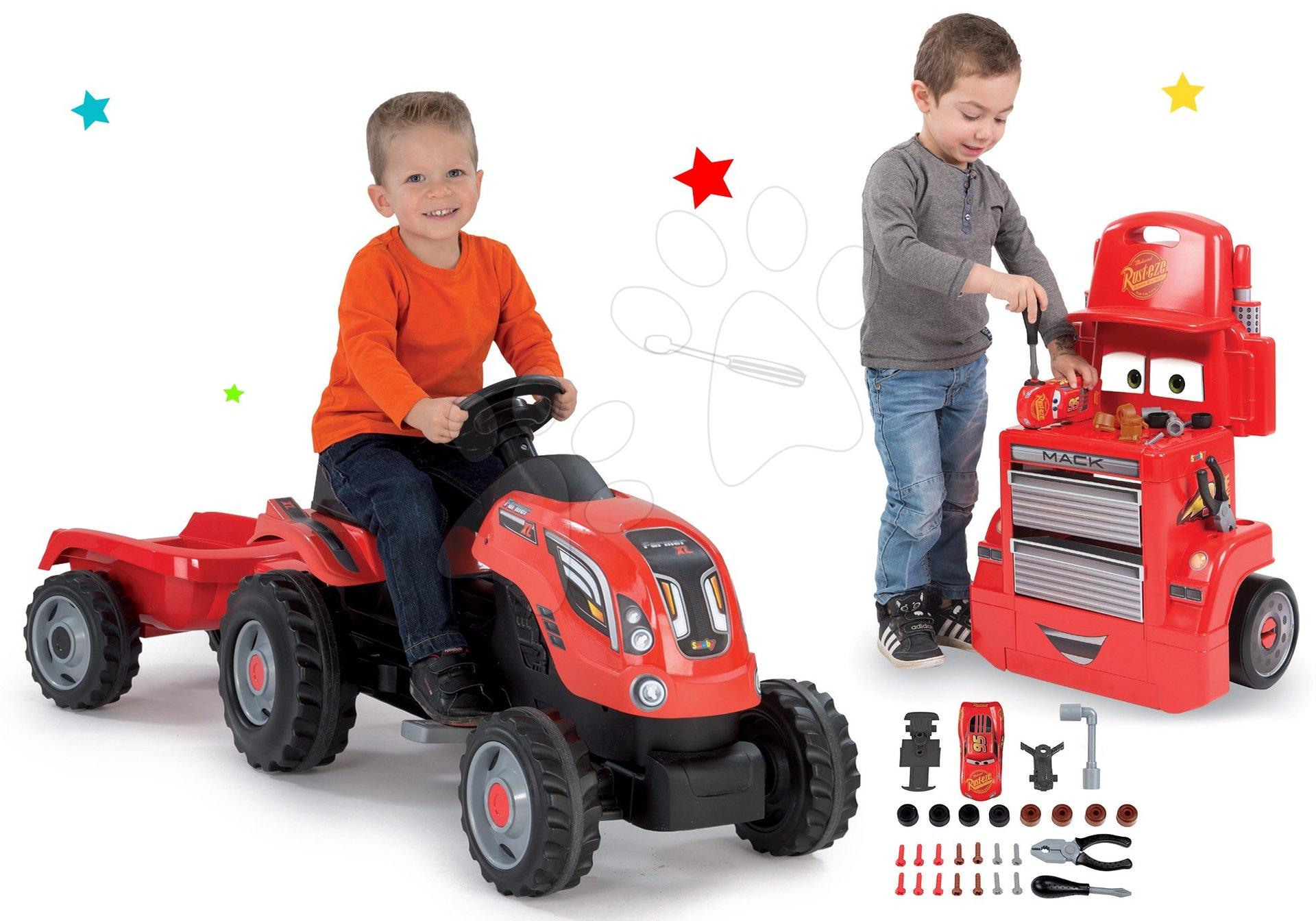 Smoby set traktor na šlapání Farmer XL Smoby s přívěsem a pracovní dílna vozík Auta Mack Truck 710108-3