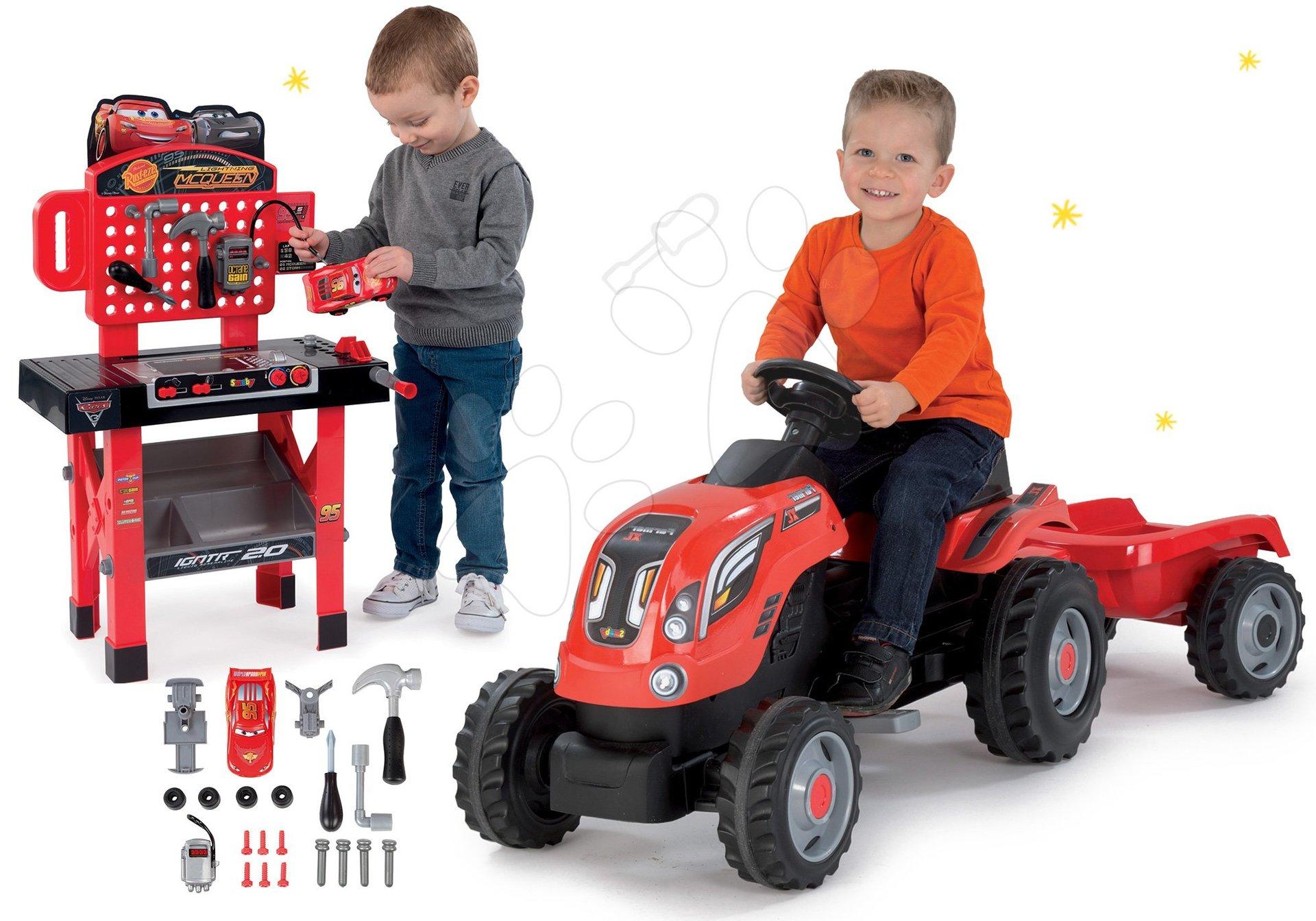 Smoby set traktor na šliapanie Farmer XL s prívesom a pracovná dielňa Autá 3 so skladacím autíčkom 710108-6
