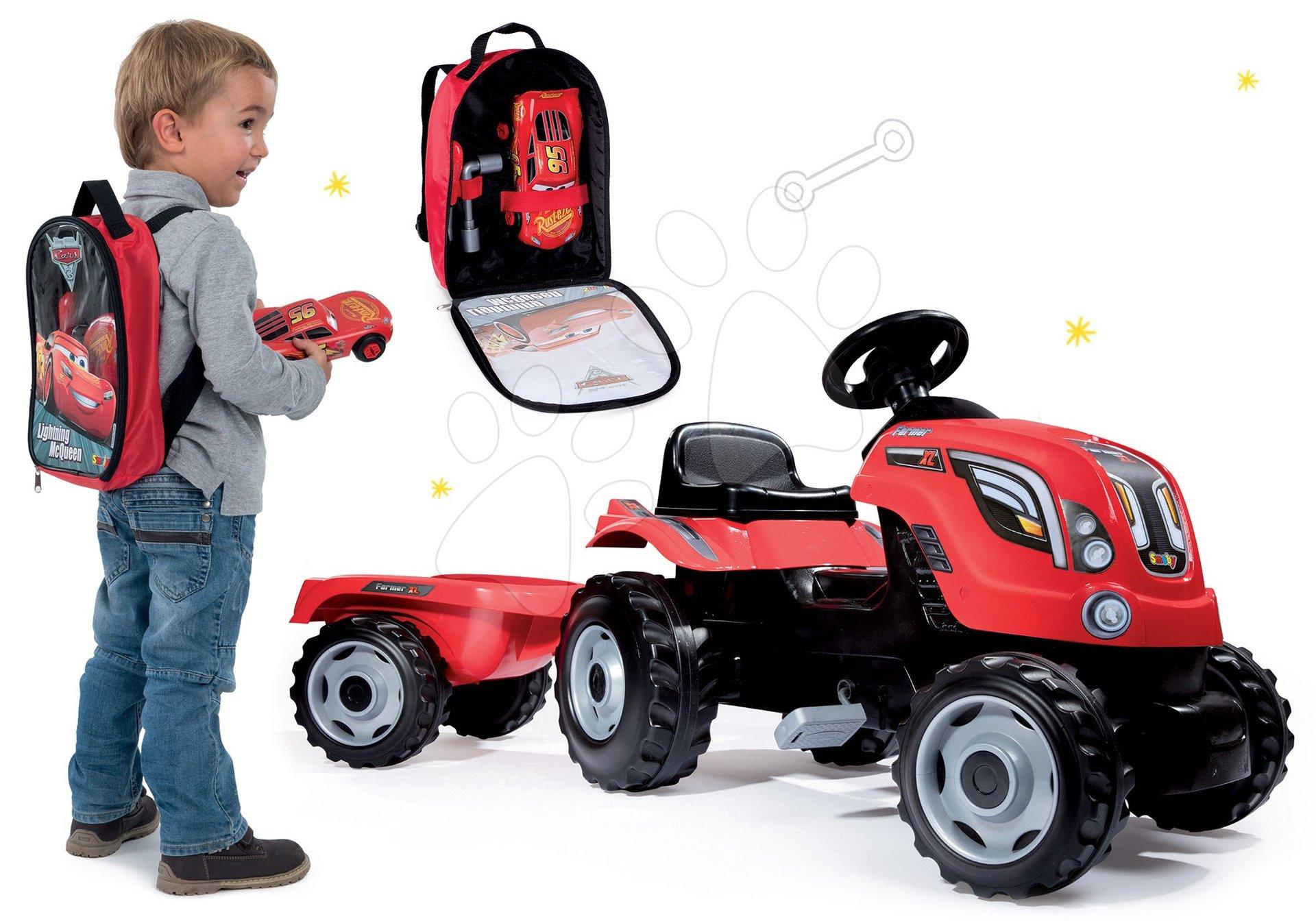 Smoby set traktor na šliapanie Farmer XL s prívesom a batoh s náradím Autá 3 so skladacím autom 710108-7
