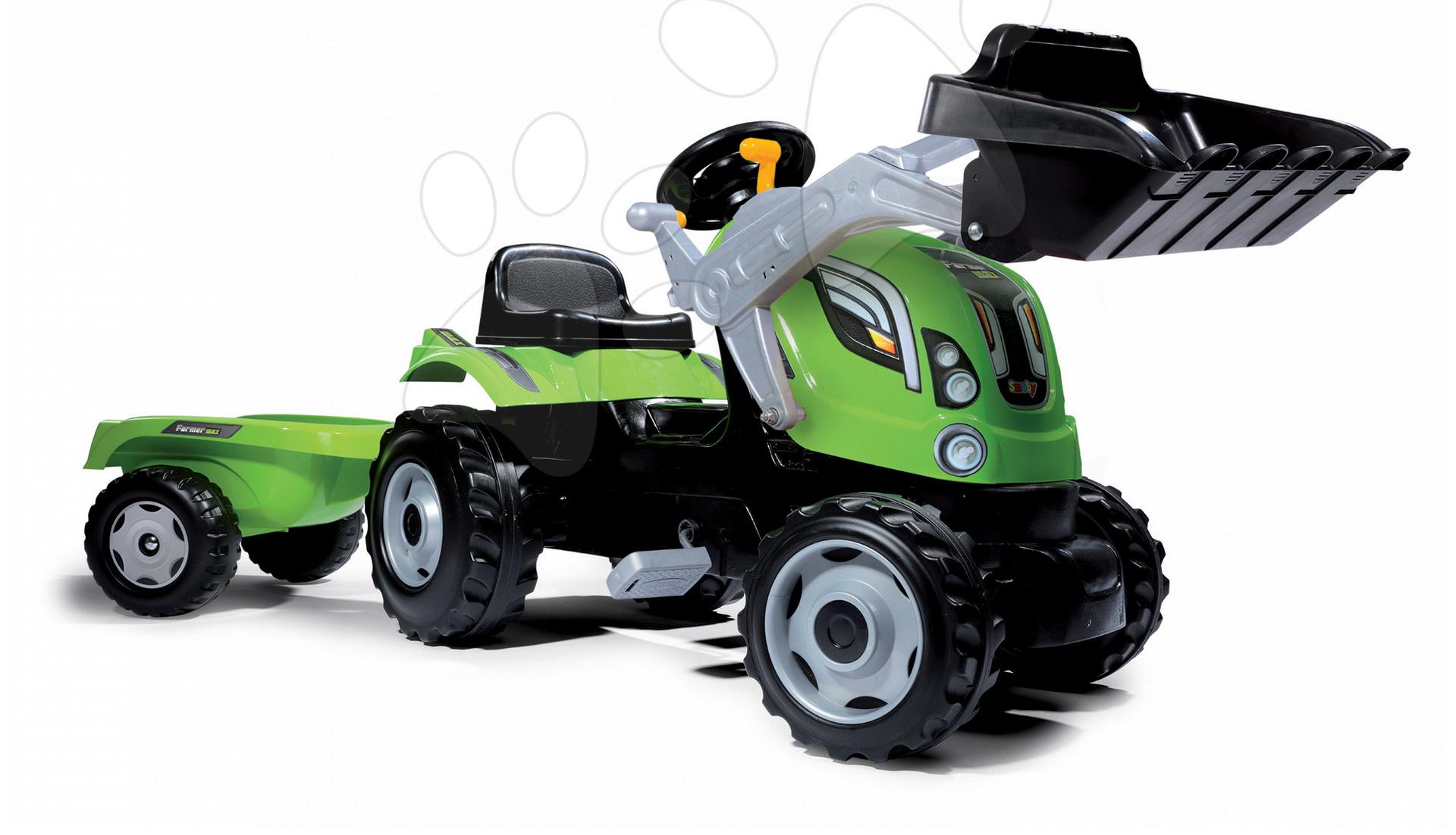 Zemědělský traktor šlapací s nakladačem Smoby a přívěsem Farmer Max Smoby zelený