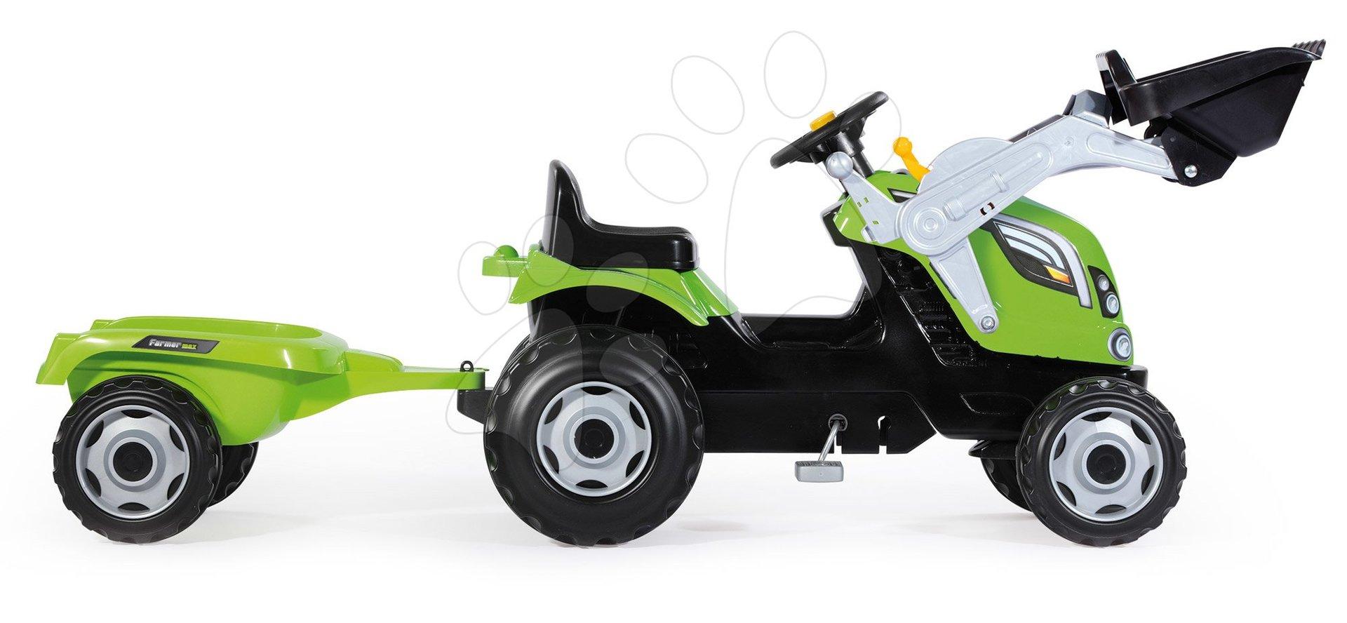 Tractor cu pedale, încărcător frontal Farmer Max Smoby verde și remorcă de la vârsta de 3 ani