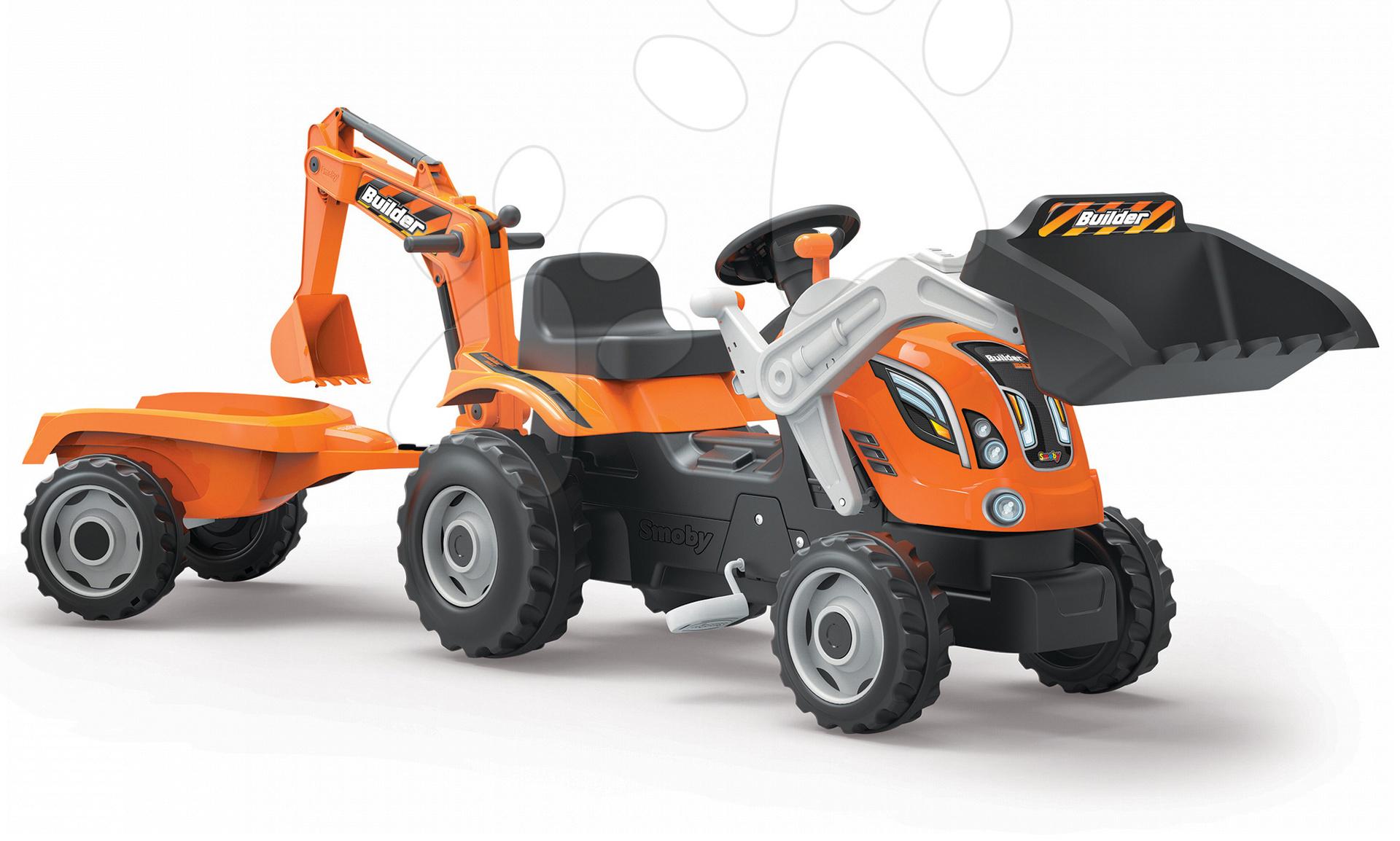 Traktor na šliapanie Builder Max Stavbár Smoby s bagrom a nakladačom oranžový