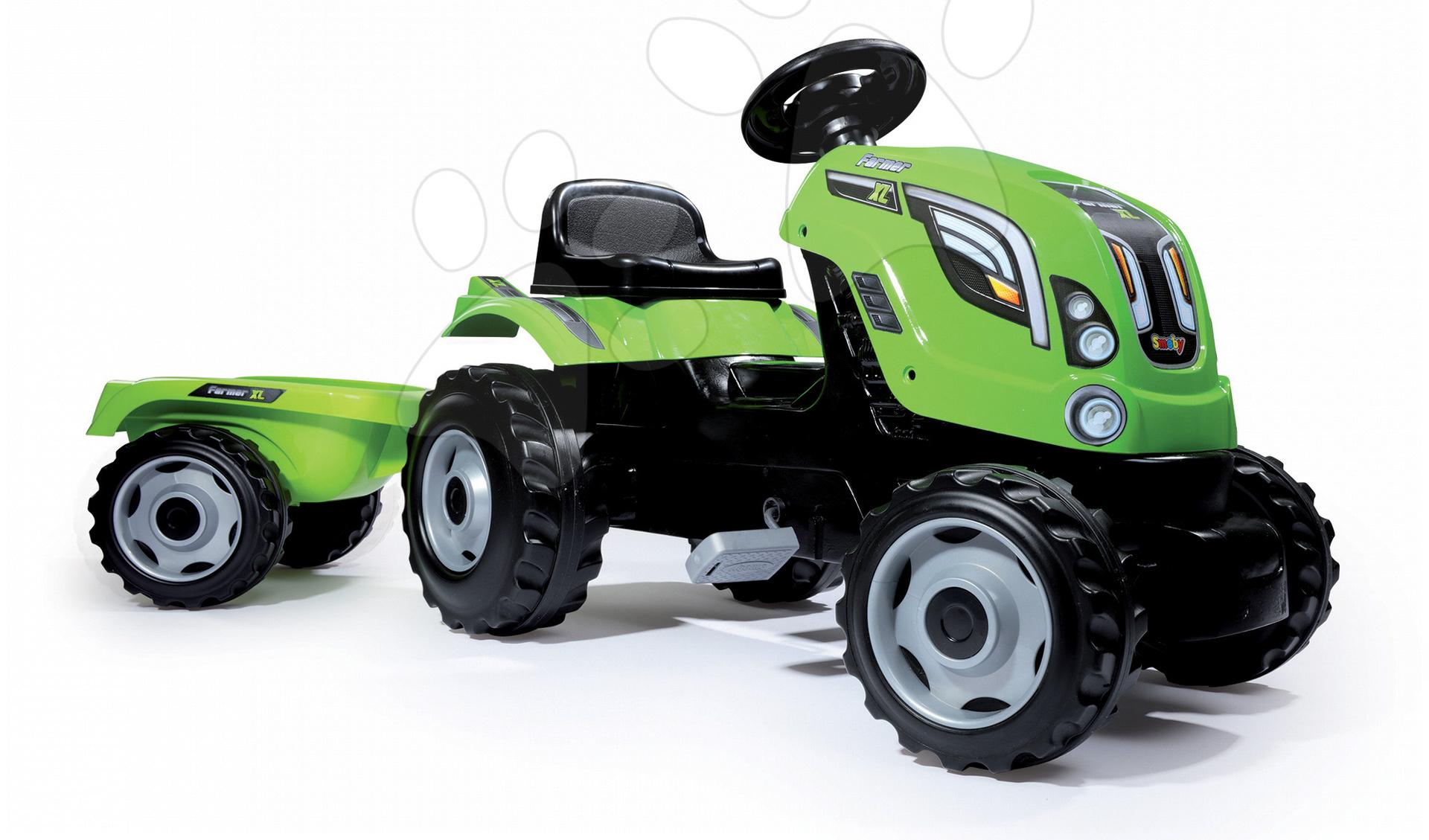 Traktor šlapací Farmer XL Smoby s přívěsem světlezelený