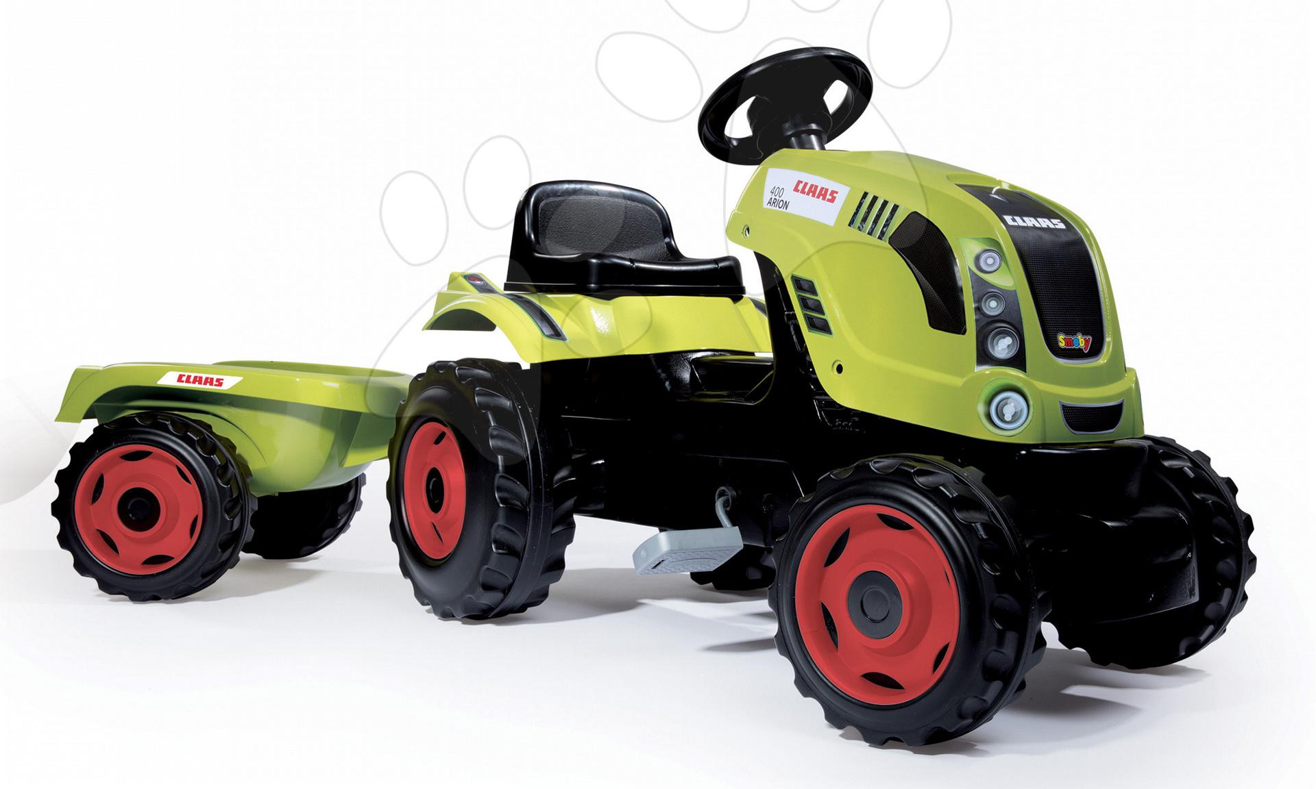 Detské šliapacie vozidlá - Traktor na šliapanie Claas Farmer XL Žaba Smoby s prívesom zelený