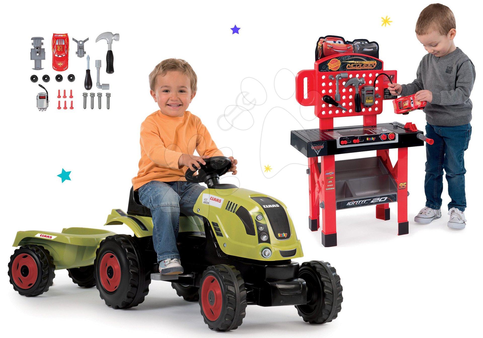 Smoby set traktor Claas Farmer XL na šliapanie s prívesom a pracovná dielňa Autá 3 s autíčkom 710114-10