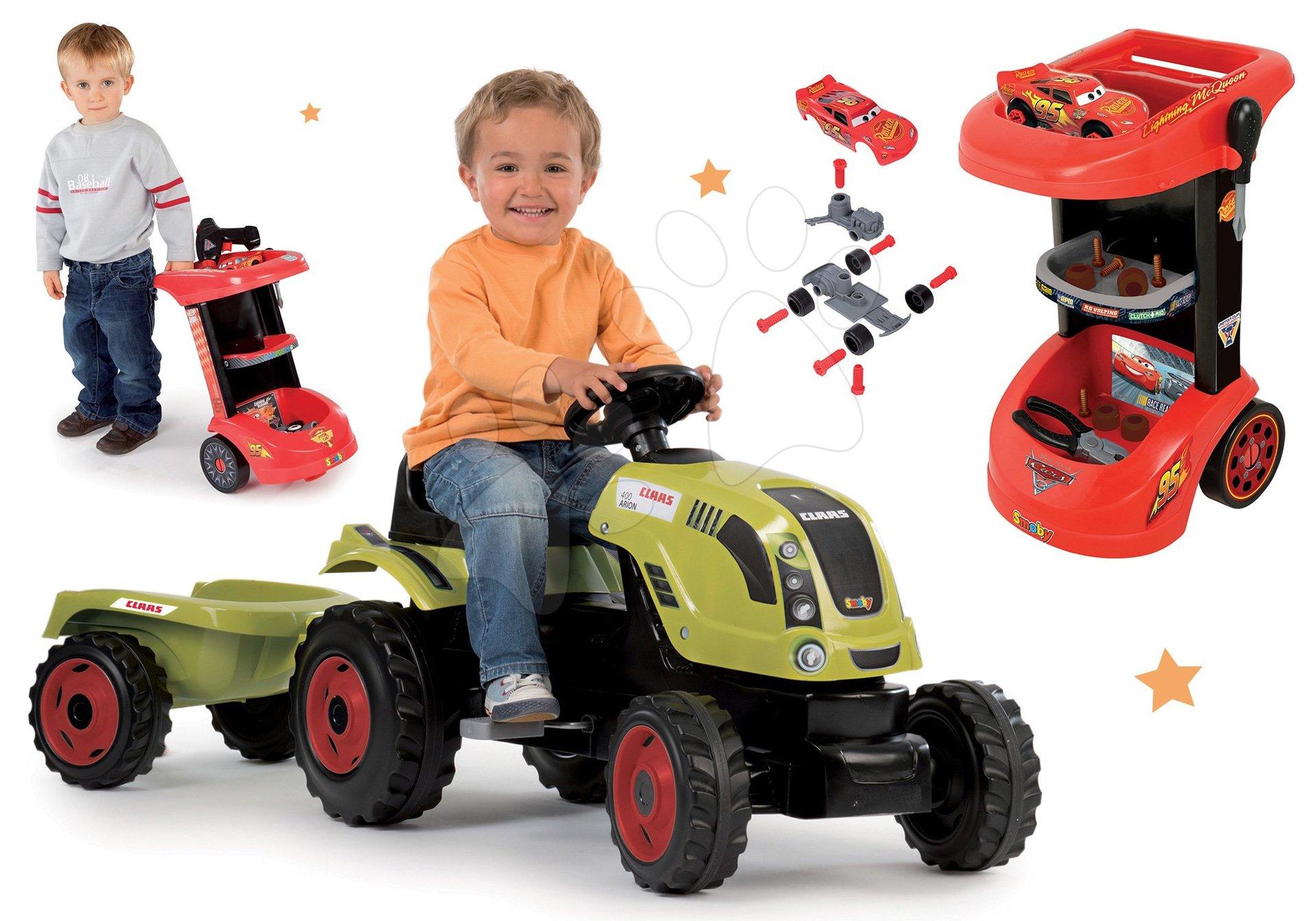 Smoby set traktor Claas Farmer XL na šliapanie s prívesom a pracovný stôl na kolieskách Autá 3 s autíčkom 710114-11