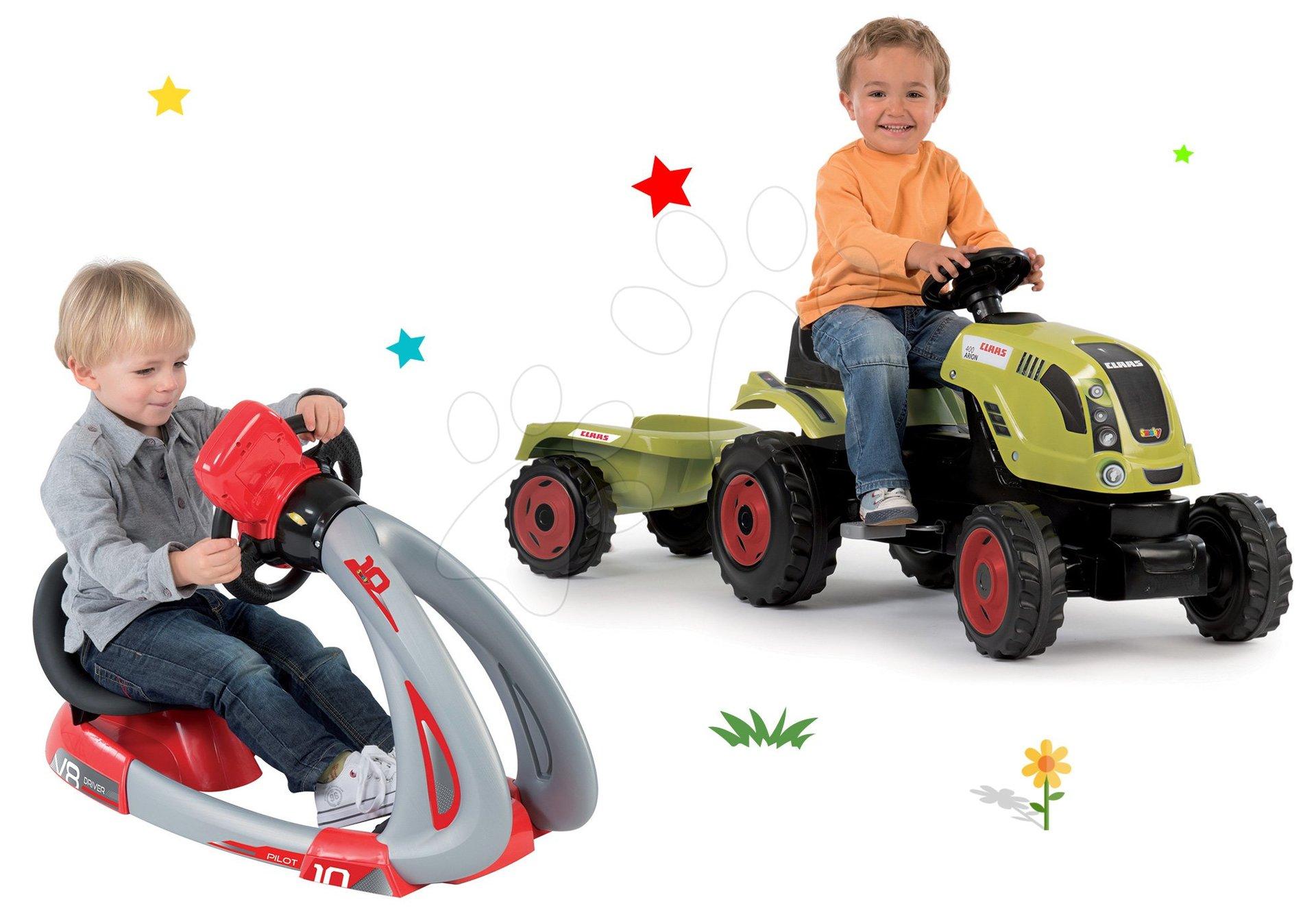 Smoby set traktor Claas Farmer XL s prívesom a trenažér V8 Driver elektronický 710114-12