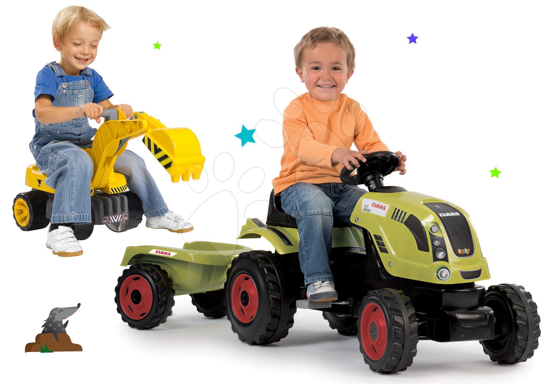 Smoby set traktor Claas Farmer XL s prívesom a bager Maxi Power so sedadlom 710114-13