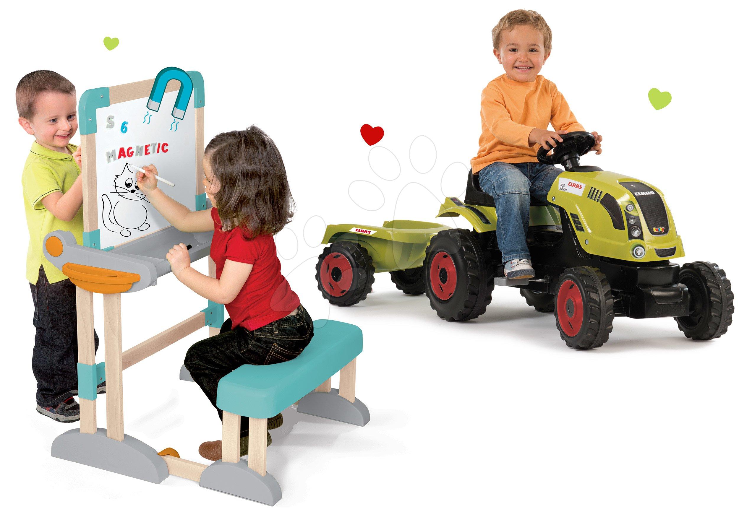 Smoby set traktor Claas Farmer XL na šliapanie s prívesom a drevená školská lavica Modulo Space 710114-14