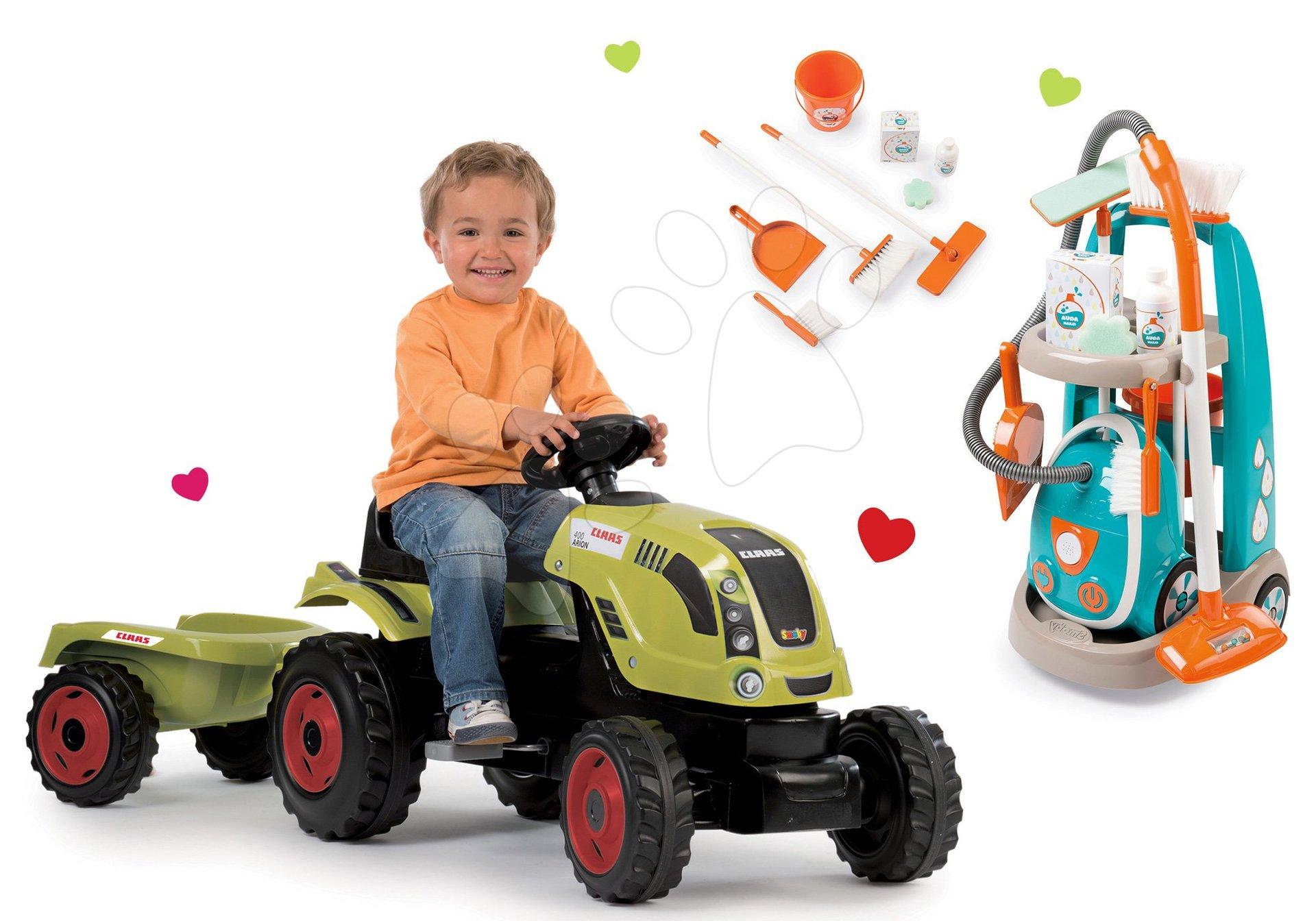 Smoby set traktor Claas Farmer XL s prívesom a upratovací vozík s elektronickým vysávačom 710114-15