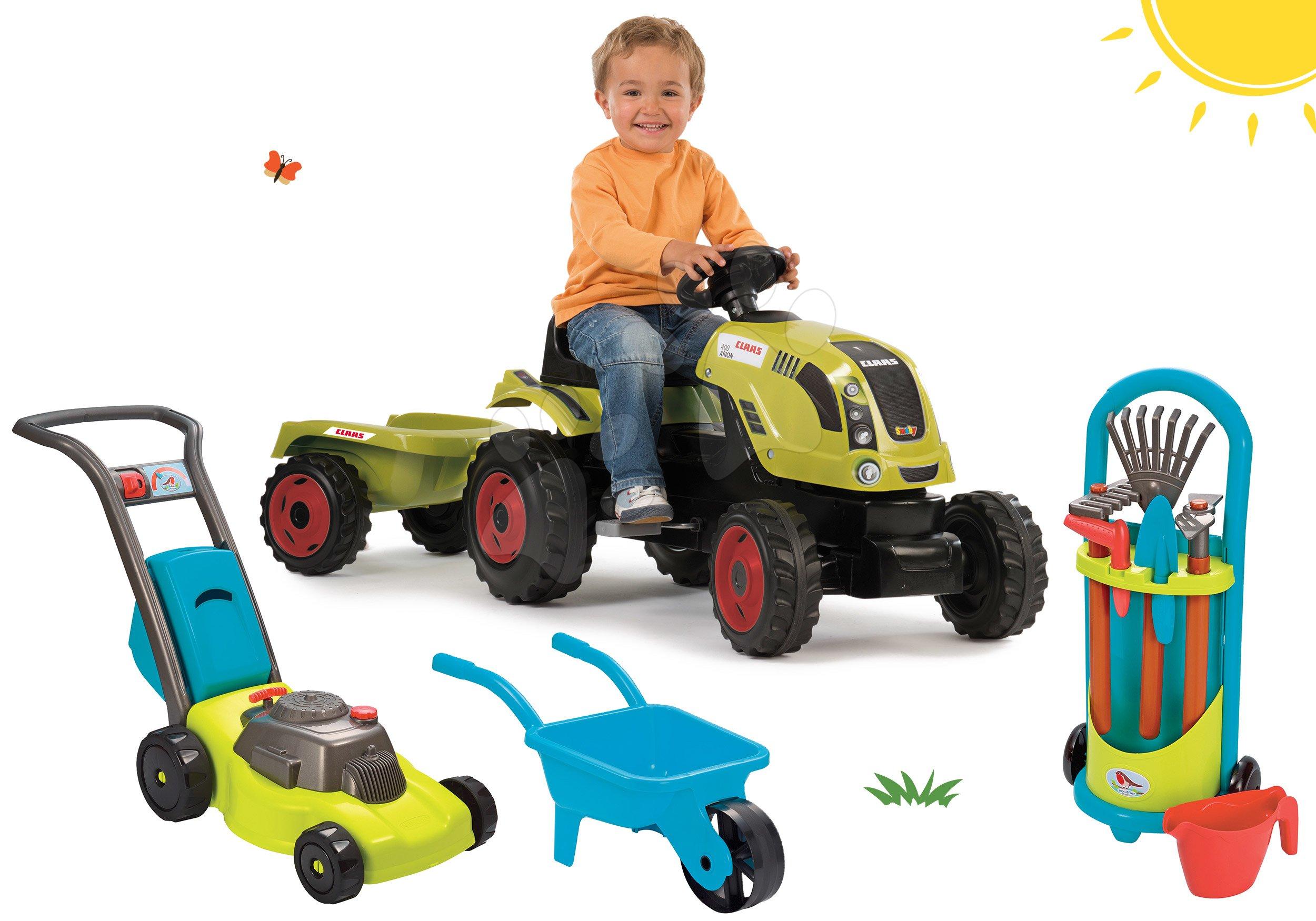 Set traktor na šliapanie Claas Farmer XL s prívesom Smoby a fúrik s kosačkou a záhradným vozíkom