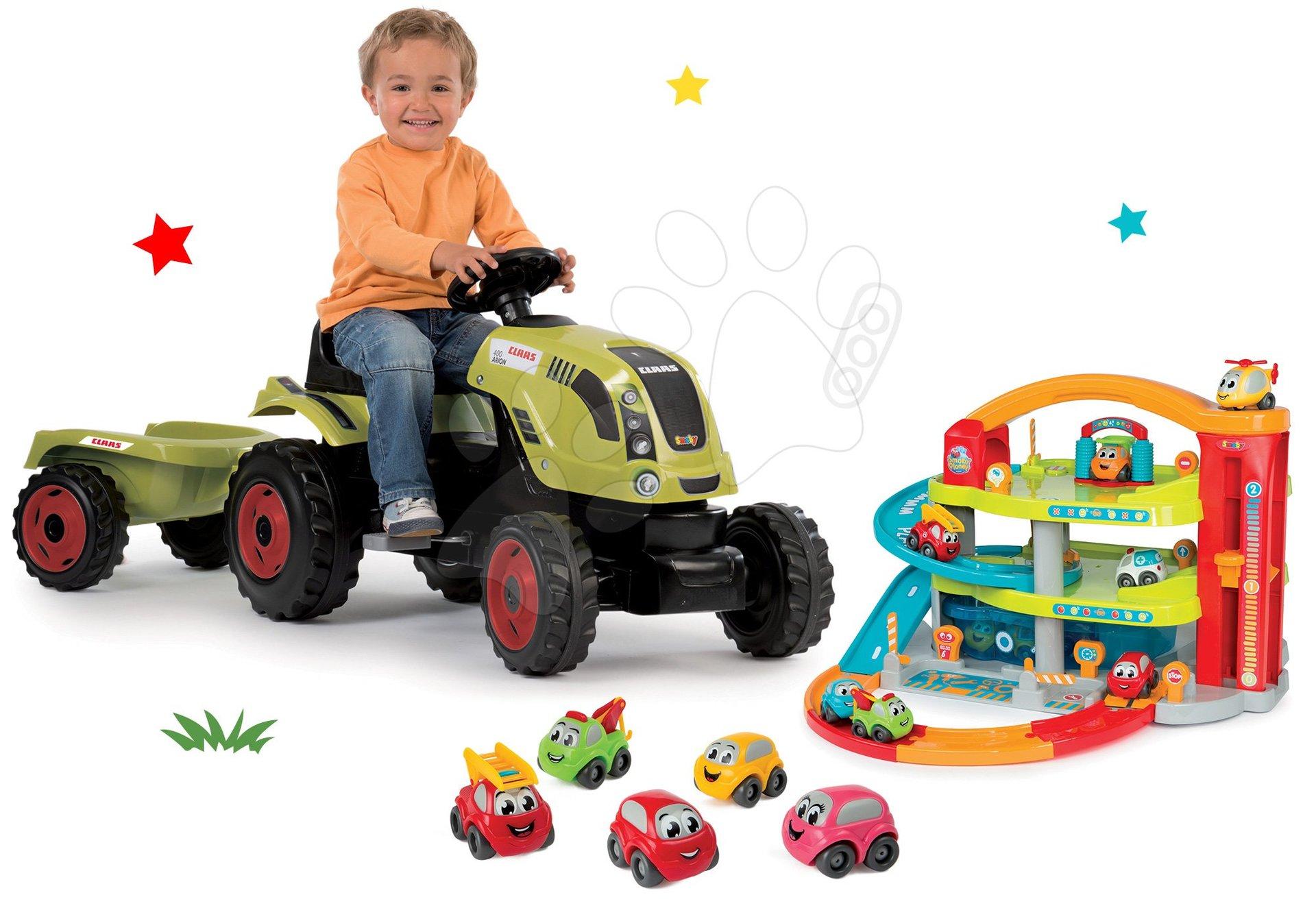 Smoby set traktor Claas Farmer XL na šlapání s přívěsem, dvoupatrová garáž Vroom Planet Grand a 5 autíček 710114-3