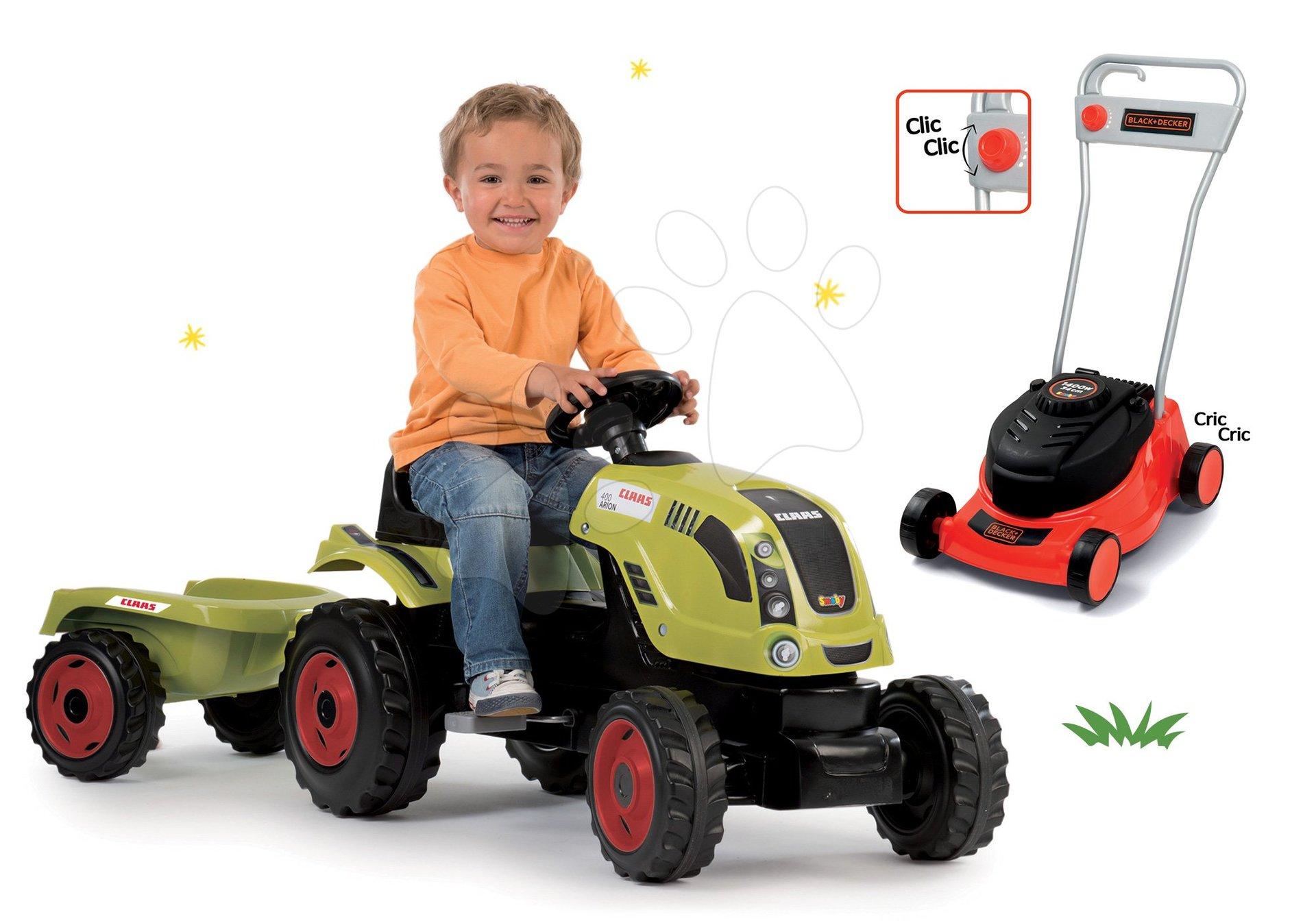 Smoby set traktor Claas Farmer XL na šliapanie s prívesom a kosačka na trávu Black&Decker 710114-5
