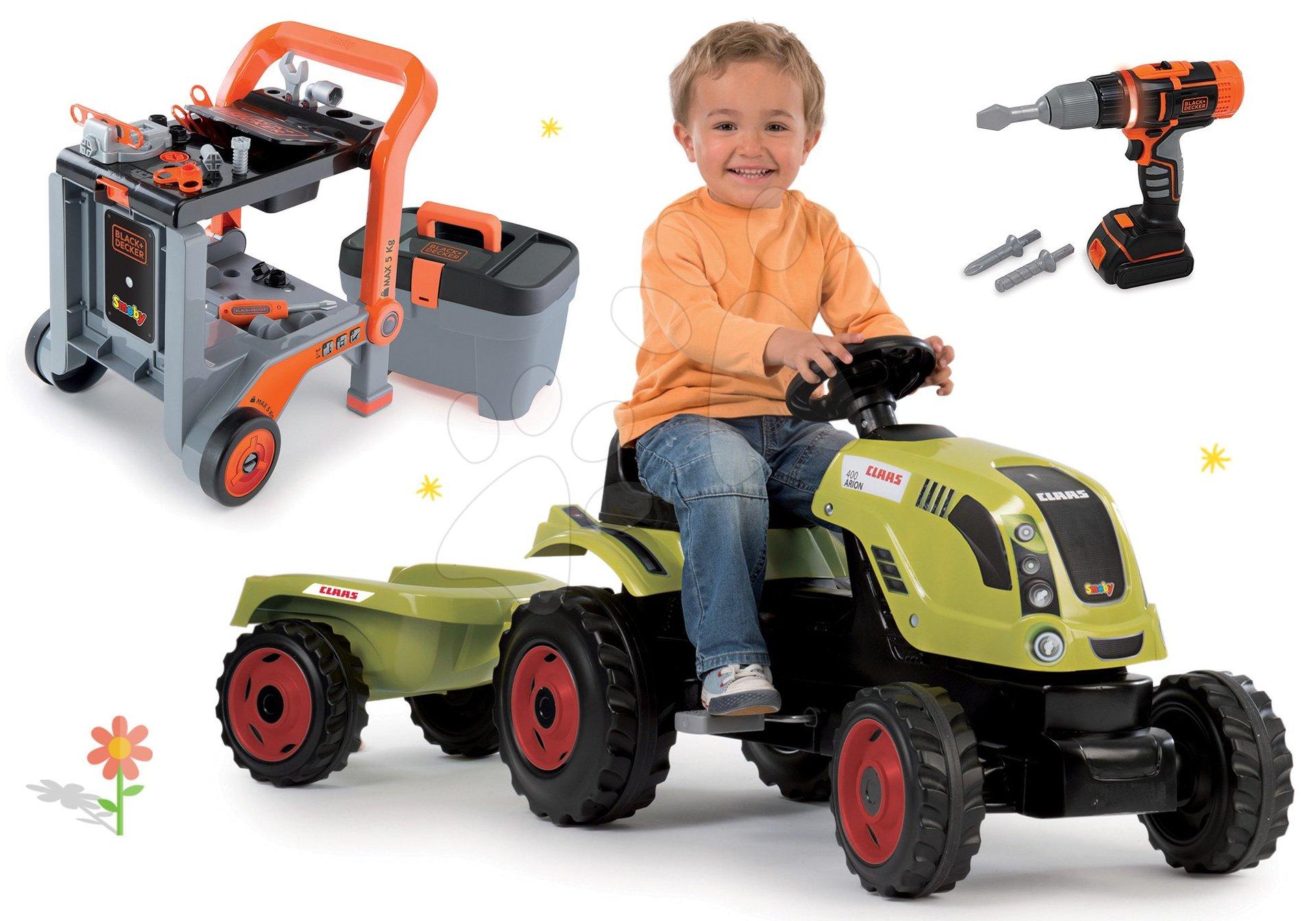 Smoby set traktor Claas Farmer XL na šliapanie s prívesom Smoby a pracovná dielňa Black&Decker 3v1 s elektronickou vŕtačkou 710114-6
