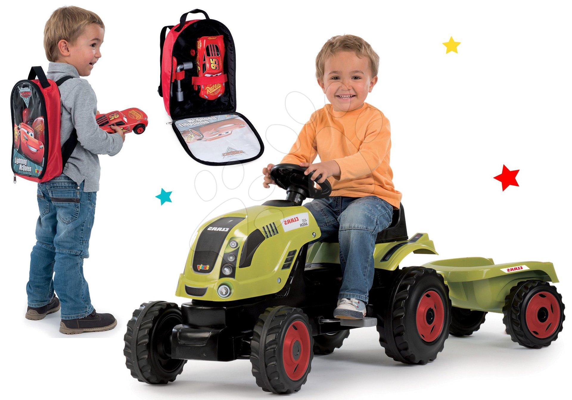 Komplet traktor na pedale Claas Farmer XL Smoby s prikolico in nahrbtnik z orodjem Avtomobili 3 z avtomobilčkom