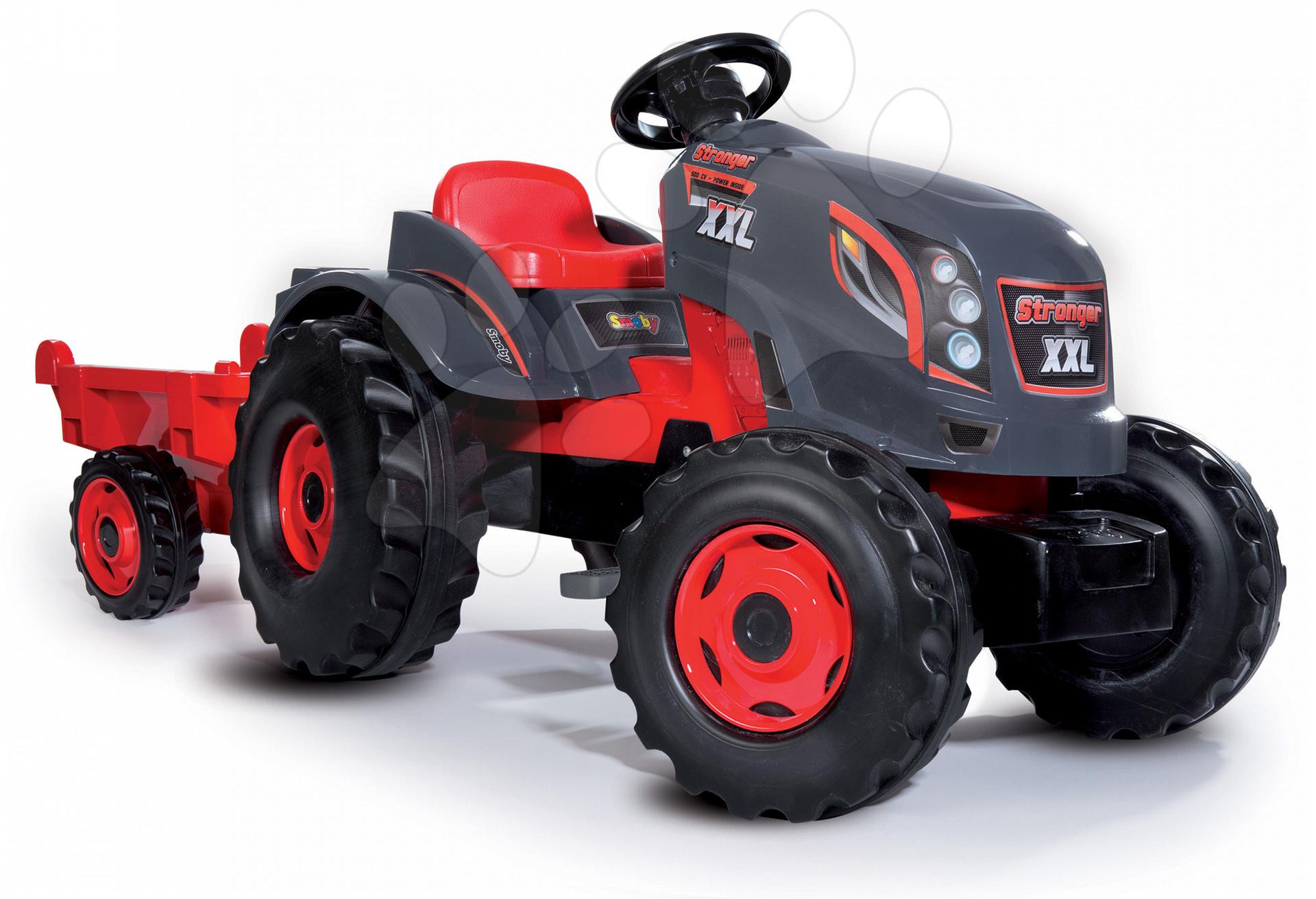 Traktor šlapací Stronger XXL Smoby s přívěsem šedo-červený