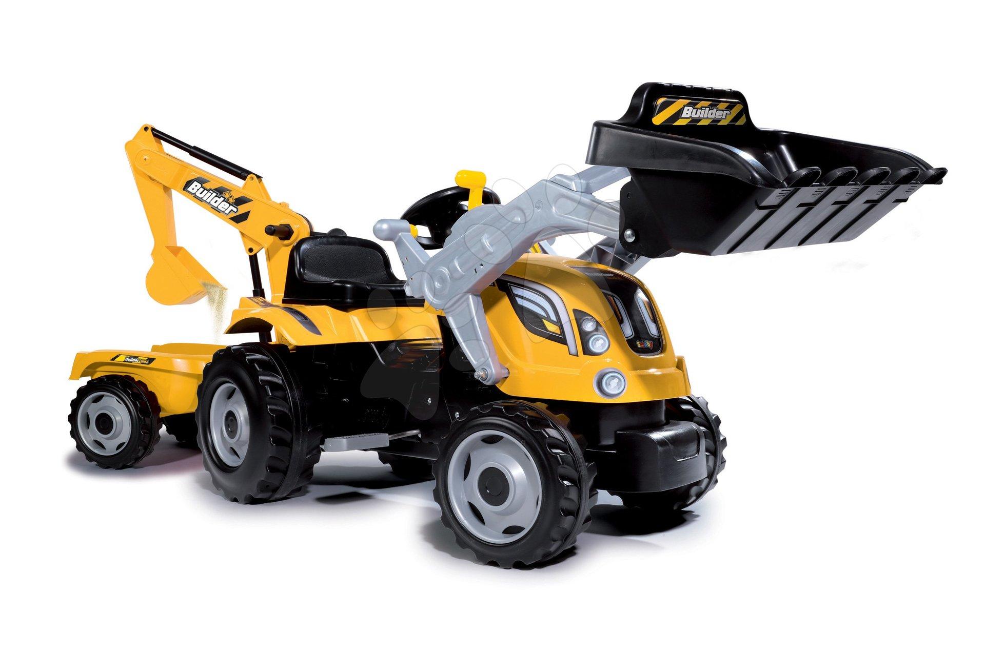 Traktor s bagrom a nakladačom Builder Max Smoby s vlekom na šliapanie 182 cm dlhy 182*44*66 cm od 3 rokov SM710301
