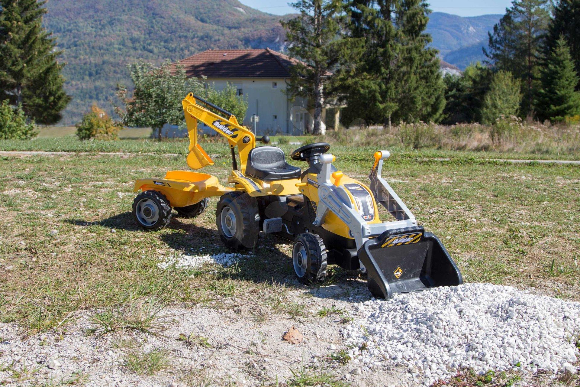 Traktor s bagrem a nakladačem Builder Max Smoby