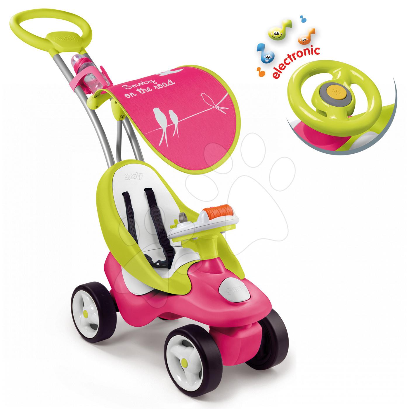 Babytaxiu Bubble Go Smoby cu parasolar şi cu volan electronic roz-verde de la 6 luni