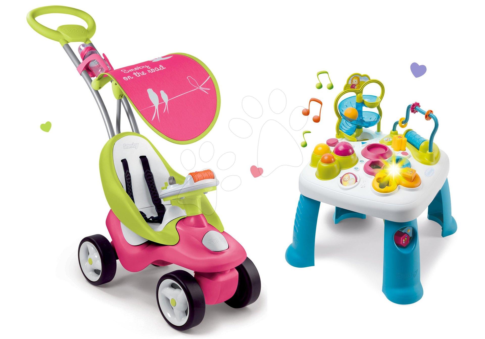 Odrážadlá sety - Set odrážadlo Bubble Go Smoby so strieškou a didaktický stolík Cotoons od 6 mes