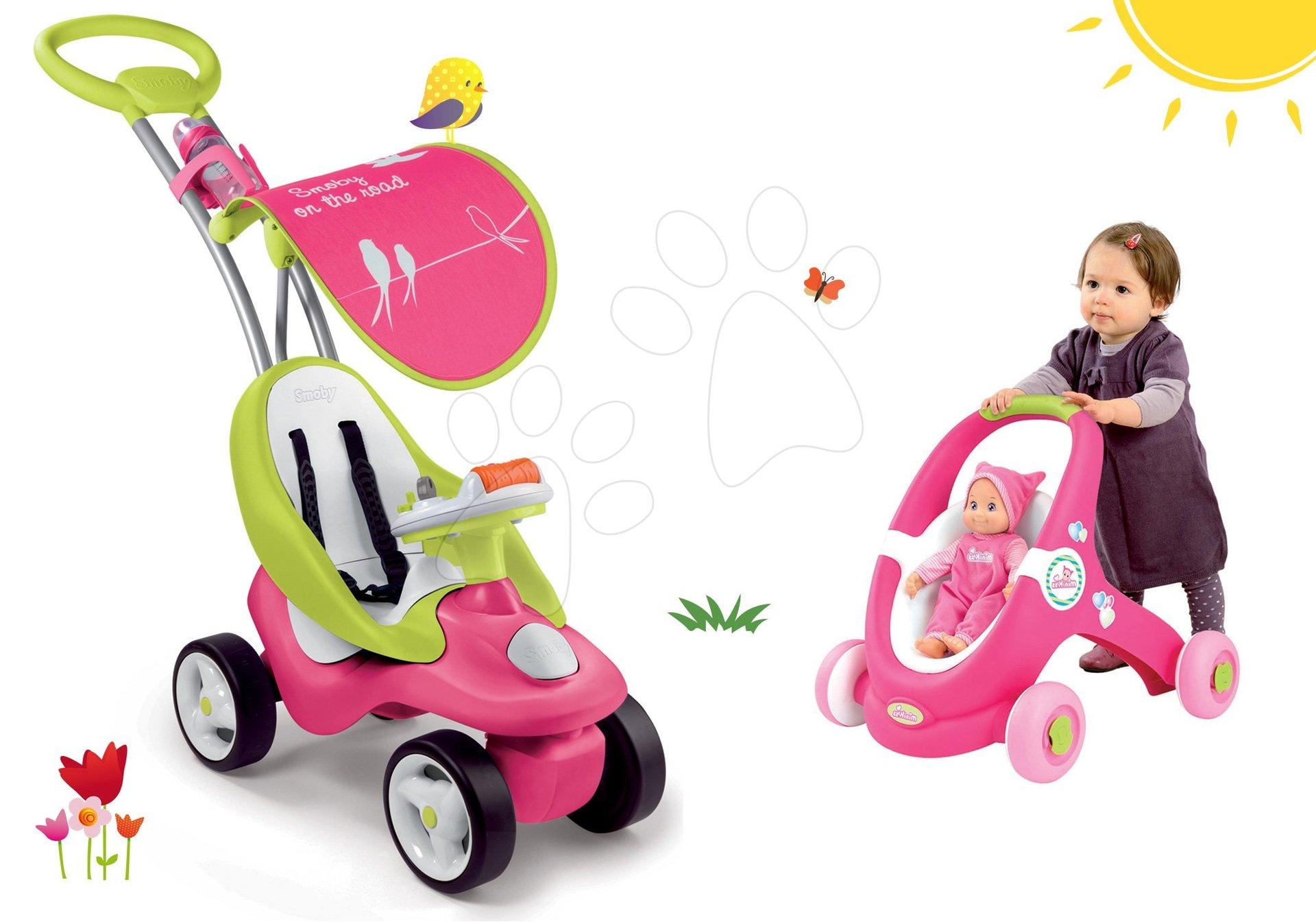 Babytaxiu roz Bubble Go cu melodii Smoby și cărucior pentru păpuşă cu premergător 2in1 MiniKiss de la 6 luni