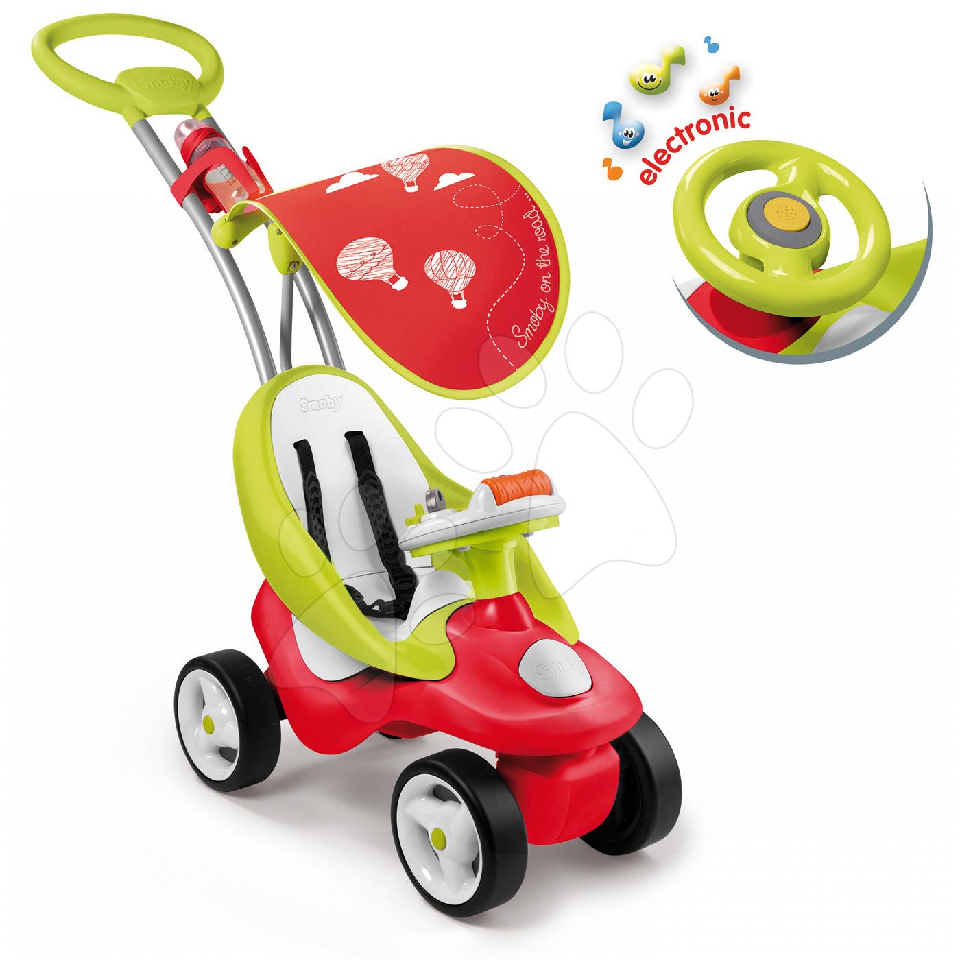 Odrážedlo Bubble Go 2v1 Smoby se slunečníkem a elektronickým volantem červeno-zelené od 6 měsíců