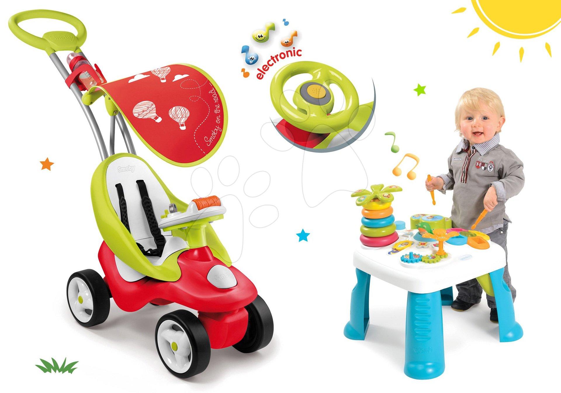 Odrážadlá sety - Set odrážadlo Bubble Go Smoby so zvukom a didaktický stolík Cotoons od 6 mes