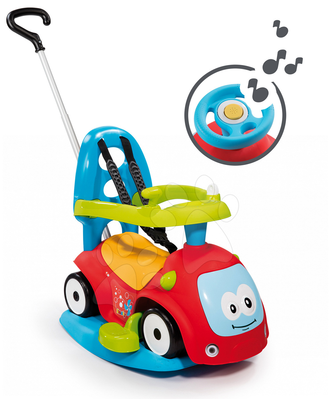 Babytaxiu cu leagăn Maestro II Balade Smoby cu volan electronic roşu-albastru de la 6 luni