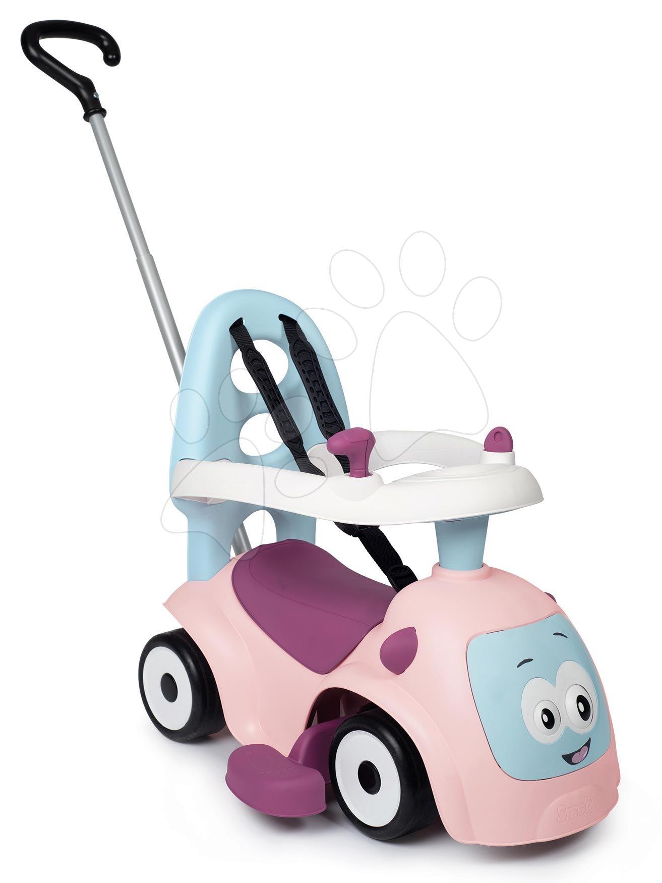 Bébitaxik 6 hónapos kortól - Bébitaxi bővithető Maestro Ride-On Pink 3in1 Smoby 3 hang tolókar kiesésgátló - mágikus szemek 6 hó-tól