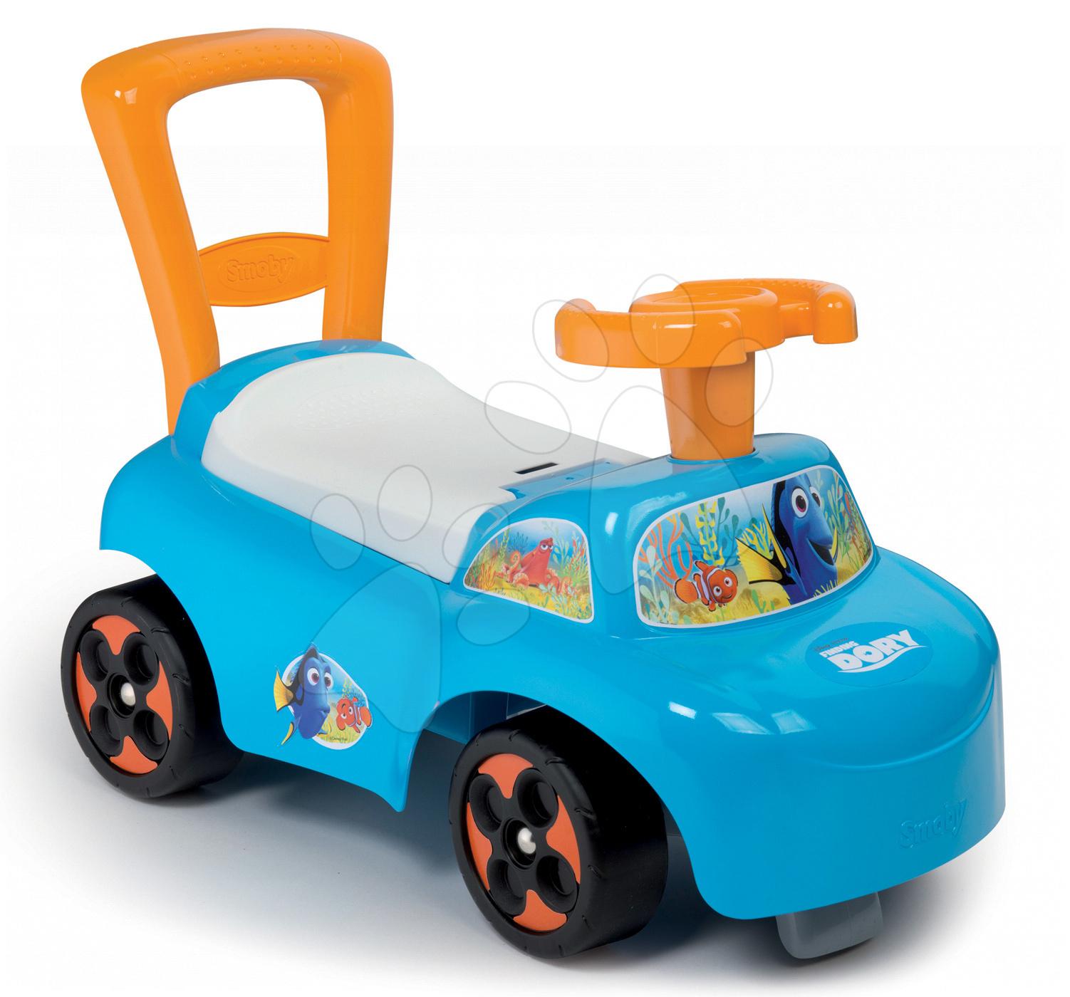 Odrážadlá od 10 mesiacov - Odrážadlo a chodítko Auto 2v1 Hľadá sa Dory Smoby modro-oranžové od 10 mes