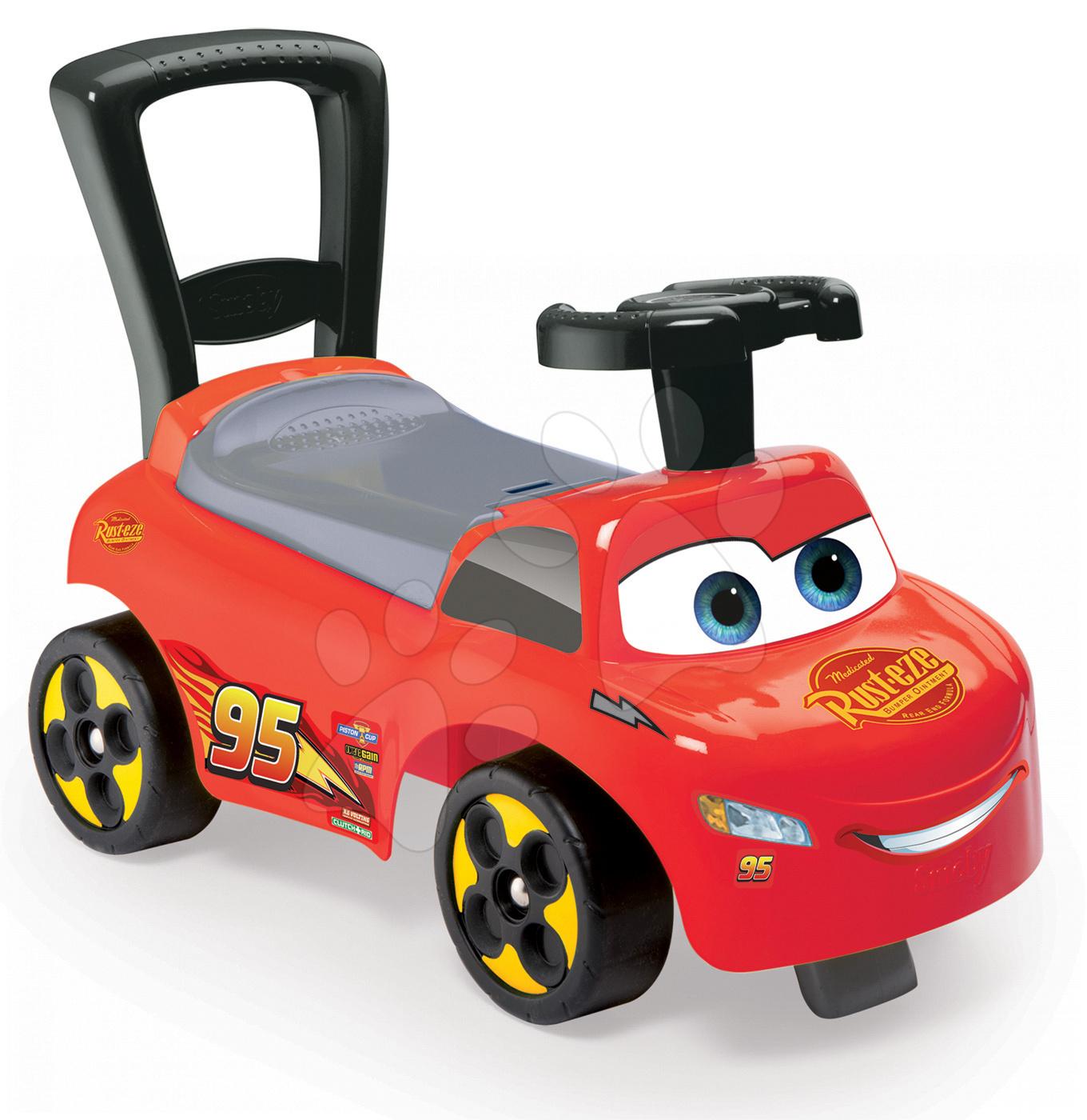 Odrážedlo a chodítko 2v1 s opěrkou Smoby a úložným prostorem Auta Disney červené od 10 měsíců