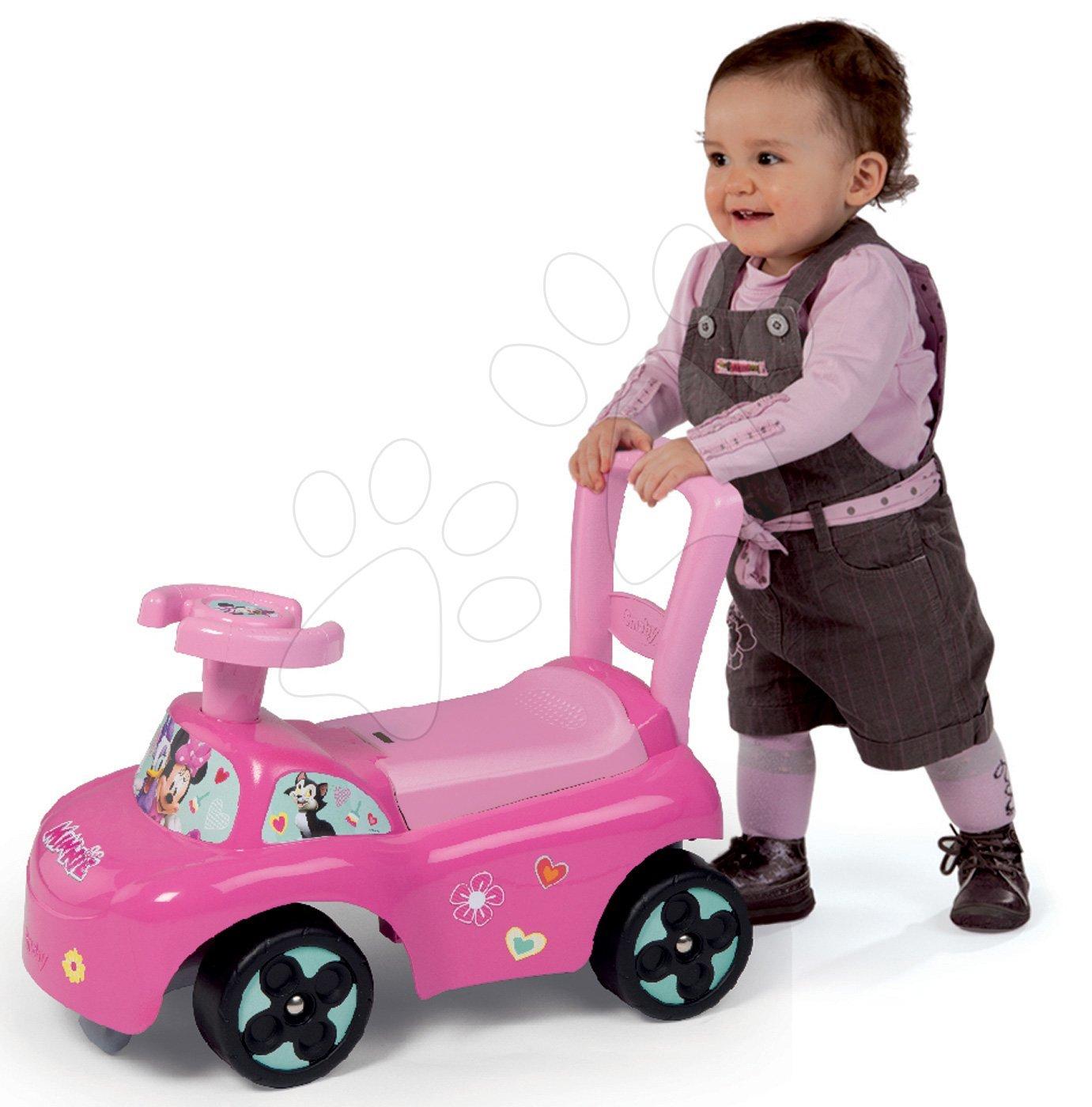 Babytaxiu şi premergător Minnie Disney Smoby cu spaţiu pentru depozitare şi spătar roz de la vârsta de 10 luni