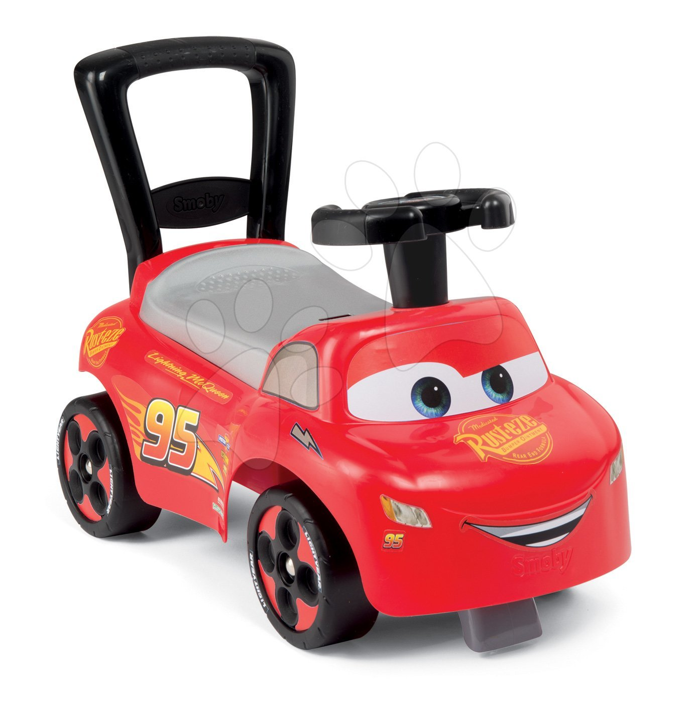 Poganjalec in sprehajalček avto Cars Disney Smoby z naslonjalom in predalčkom rdeč od 10 mes