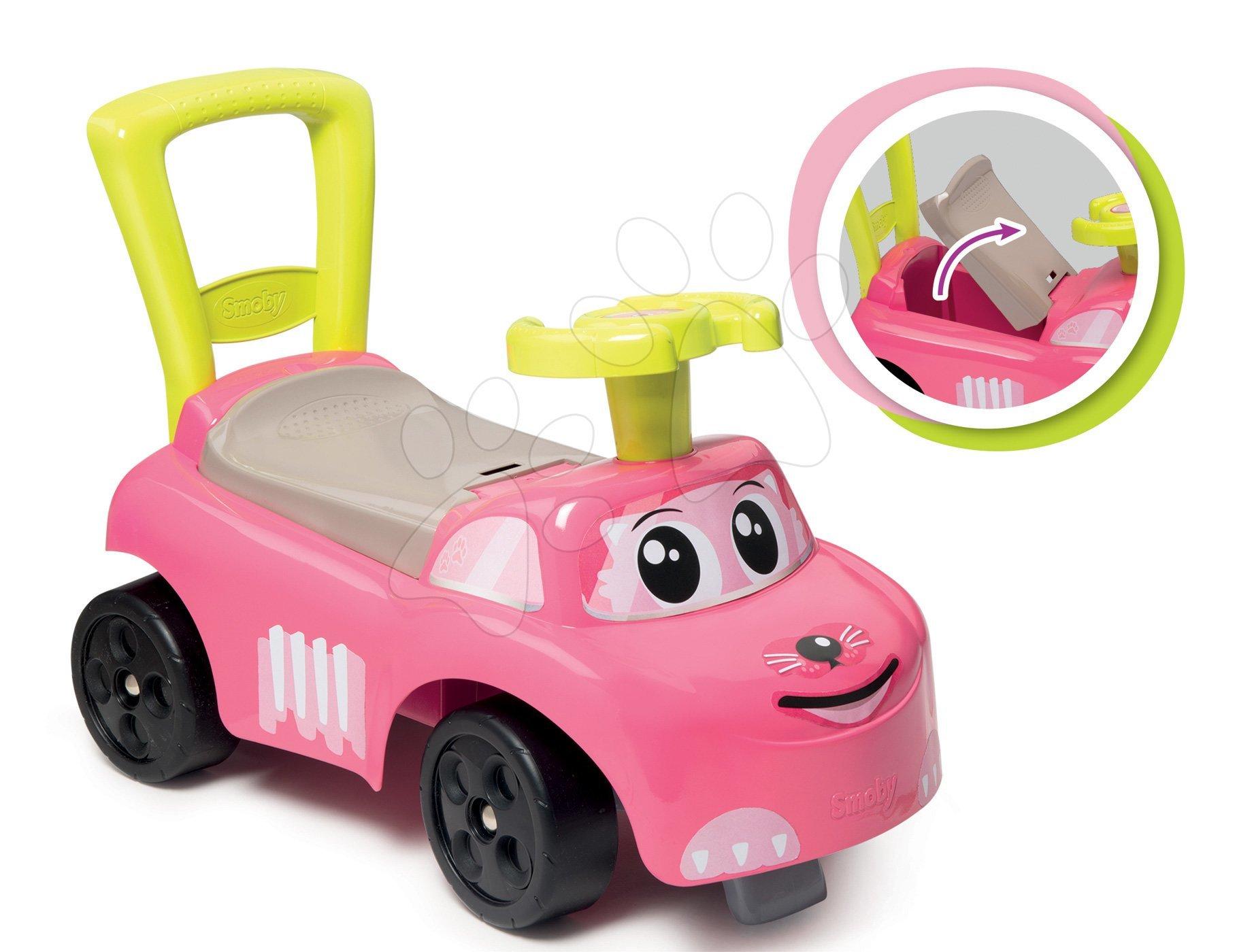 Babytaxiu şi premergător Auto Pink Ride on Smoby cu spaţiu pentru depozitare şi spătar roz