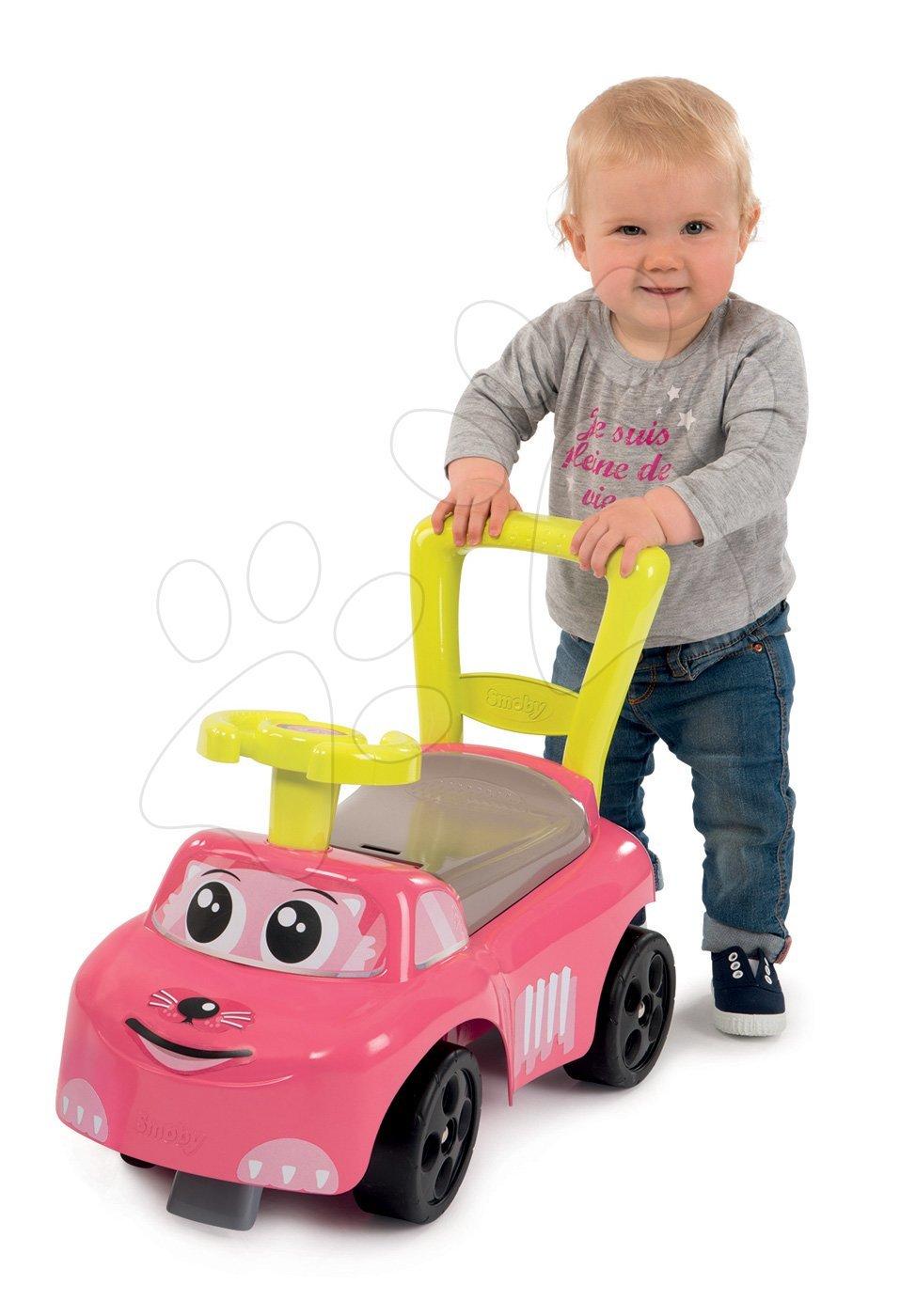 Dětská chodítka - Odrážedlo a chodítko Auto Fille 2v1 Smoby růžové od 10 měsíců