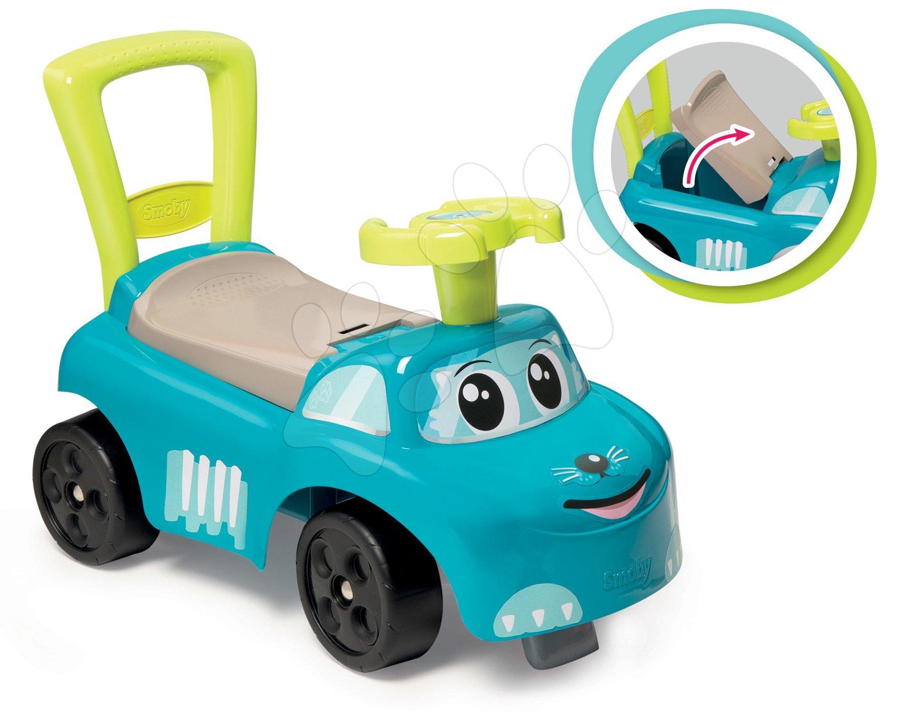 Odrážedlo a chodítko Auto Blue Ride on Smoby s úložným prostorem a opěrkou od 10 měsíců modré