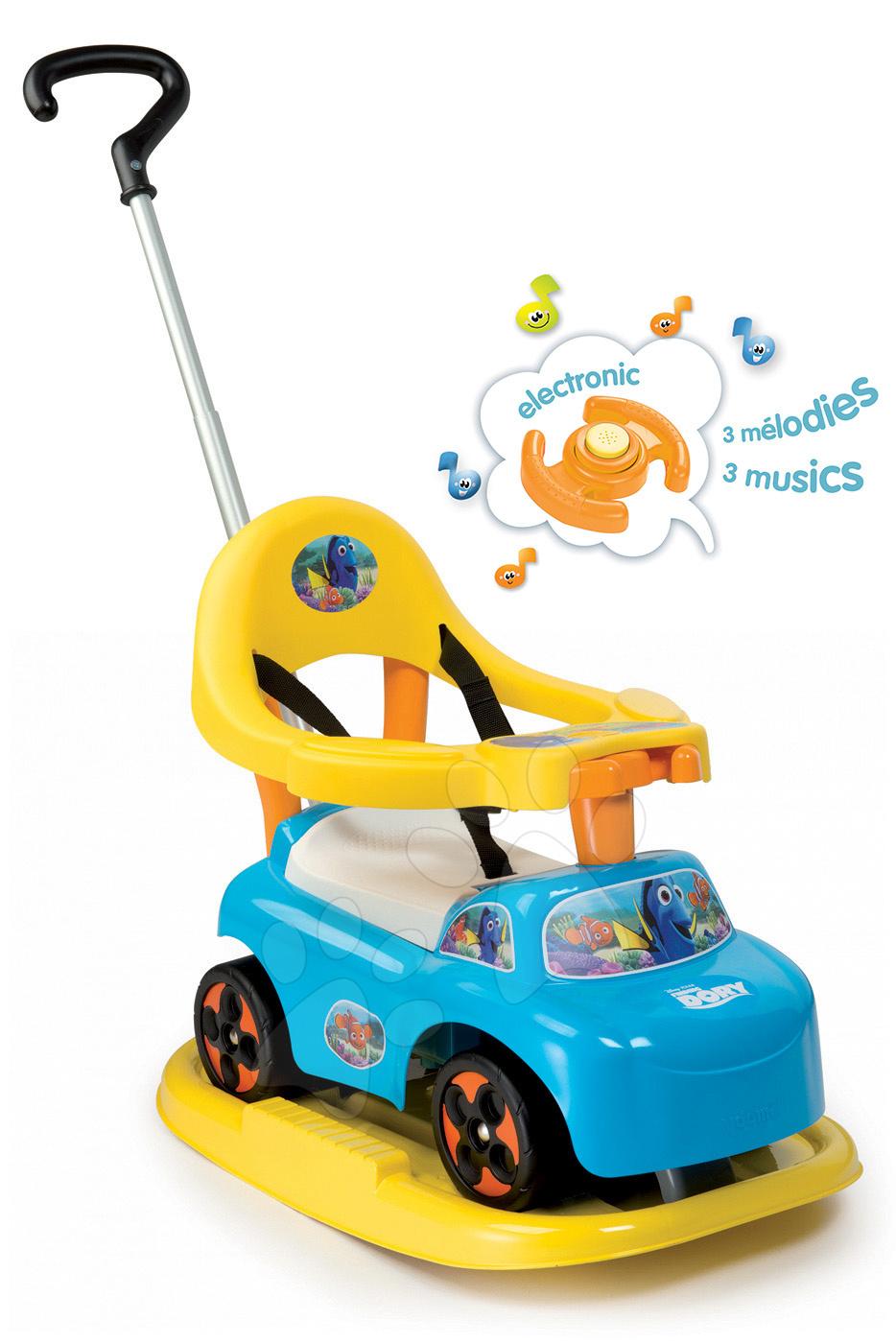 Odrážadlá od 6 mesiacov - Odrážadlo Auto Balade Hľadá sa Dory Smoby s hojdačkou modro-žlté od 6 mes