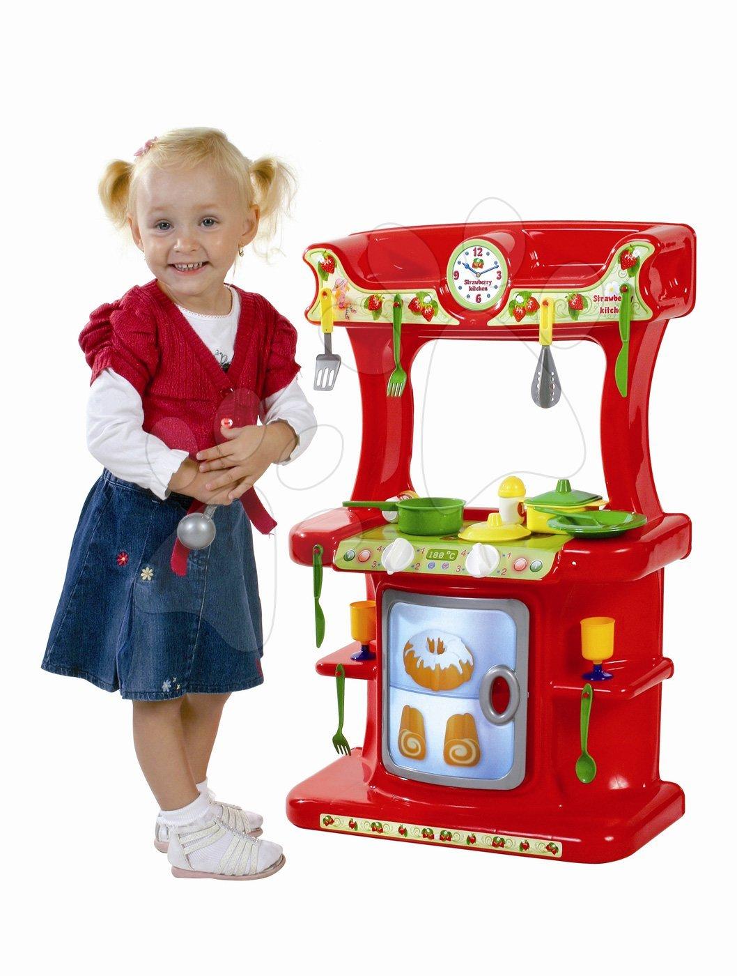 Bucătării simple de jucărie - Bucătărie Strawberry Dohány cu 21 de accesorii de la 18 luni