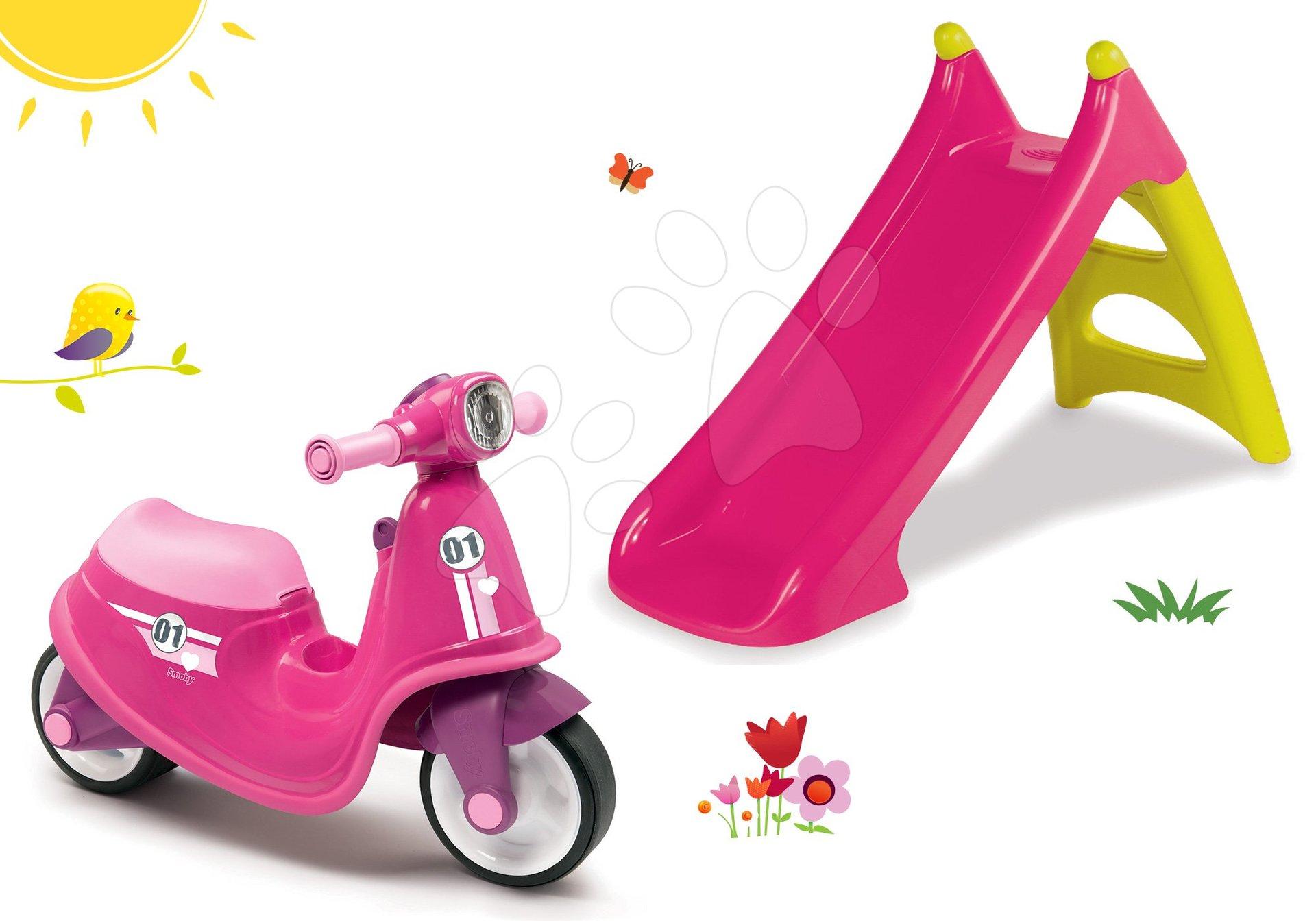 Smoby set odrážadlo Scooter Pink s gumenými kolesami a šmykľavka Toboggan XS s vodou 721002-1