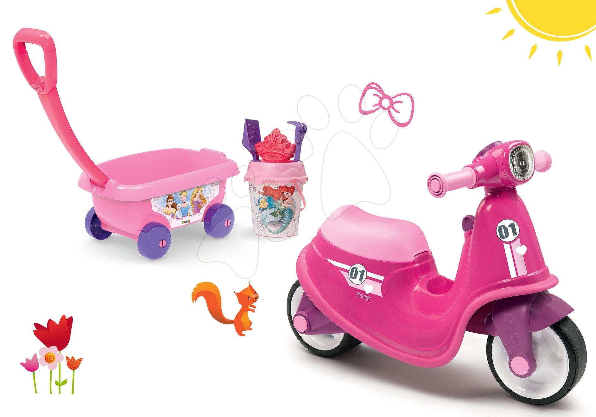 Smoby set odrážedlo Scooter Pink s gumovými koly a vozík na tahání s kbelík setem 721002-4