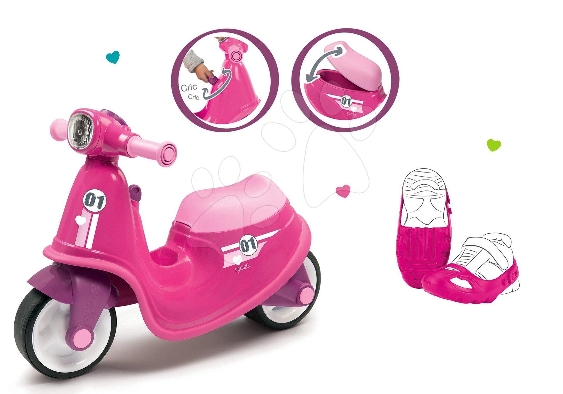 Smoby set odrážadlo Scooter Pink s gumenými kolesami a ochranné návleky na topánky ako darček 721002-6