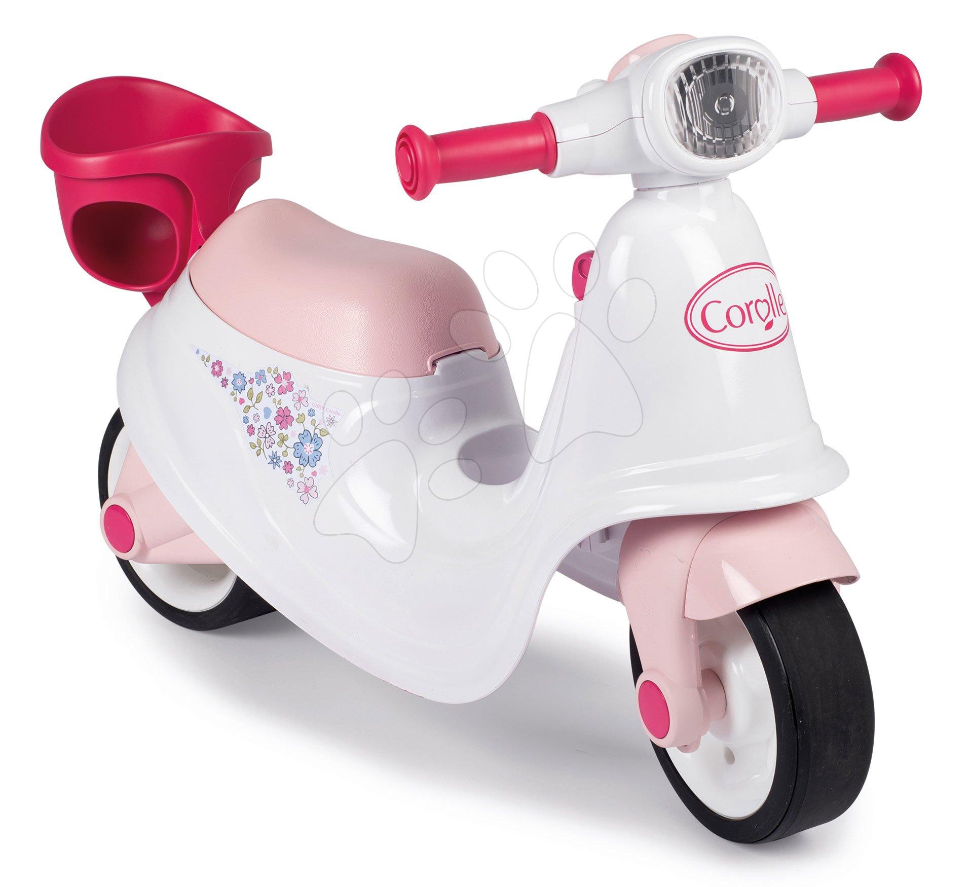 Odrážadlo motorka s košíkom Corolle Scooter Smoby s gumenými kolesami úložným priestorom a mechanickým kľúčom od 18 mes