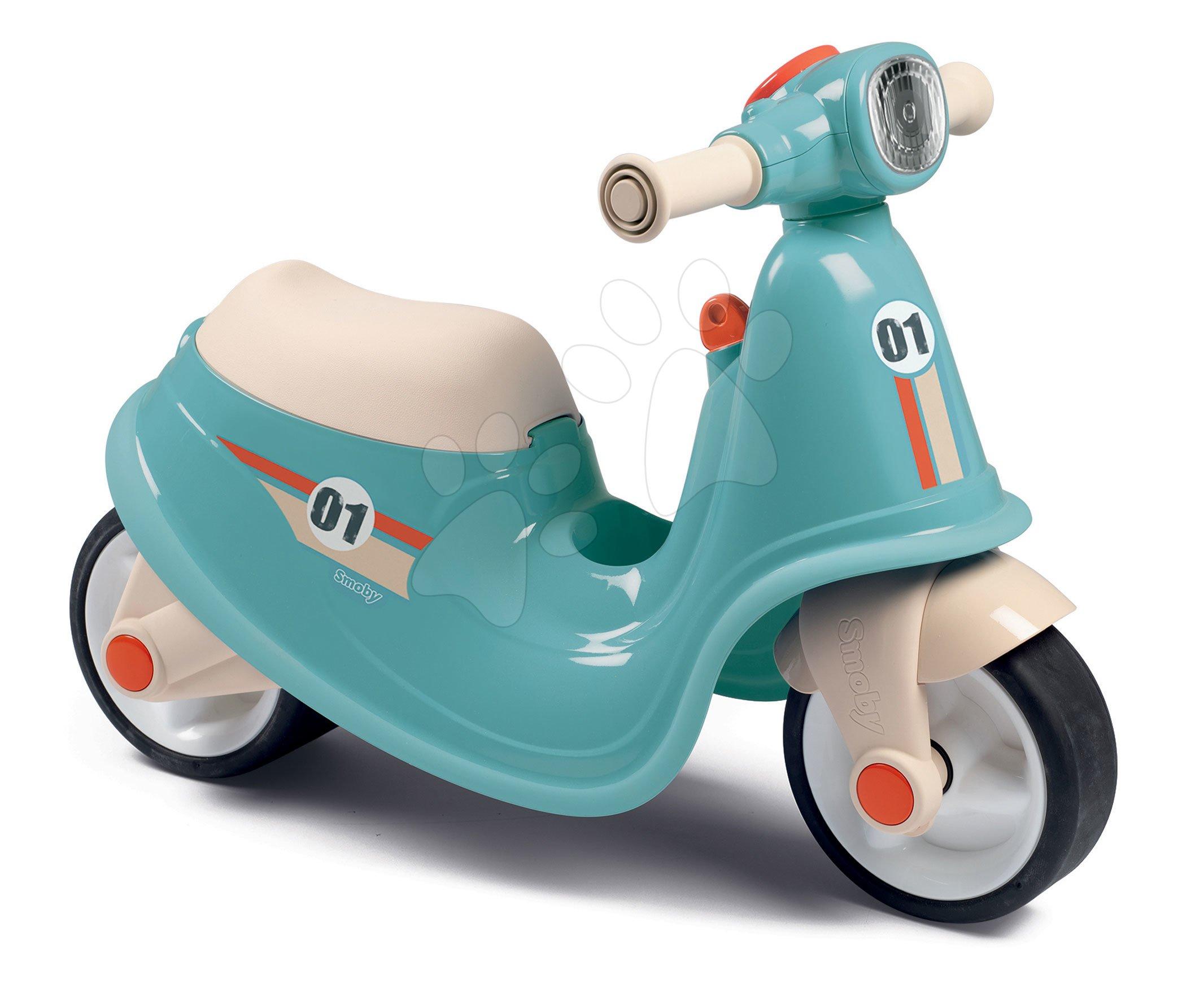 Odrážedlo motorka s reflektorem Scooter Blue Smoby s gumovými koly modro-šedé od 18 měsíců
