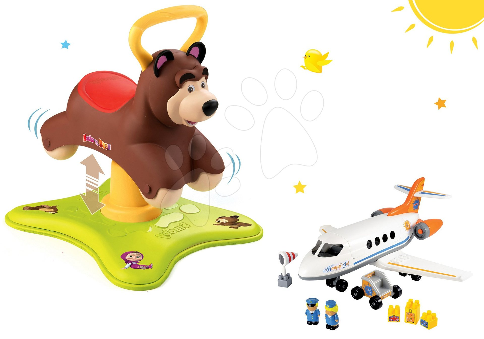 Set odrážadlo Medveď 2v1 Smoby skákajúci a točiaci sa a stavebnica lietadlo Abrick od 12 mes