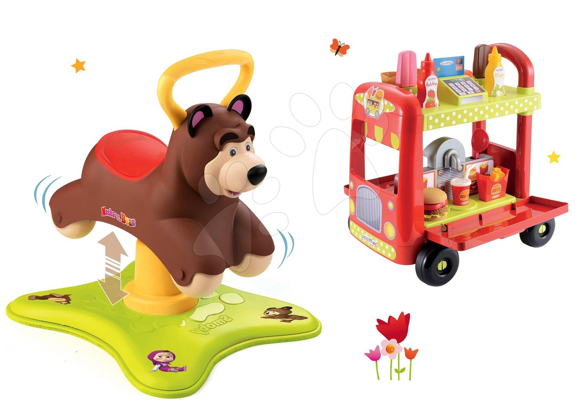 Set odrážedlo Medvěd 2v1 Smoby skákající a točící se a zmrzlinářský vozík s doplňky od 12 měsíců